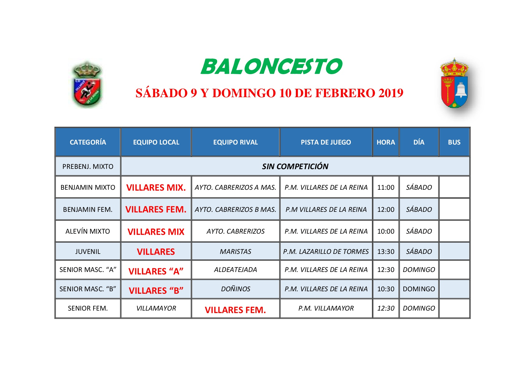 HORARIOS DE BALONCESTO S�BADO 9 Y DOMINGO 10 DE FEBRERO