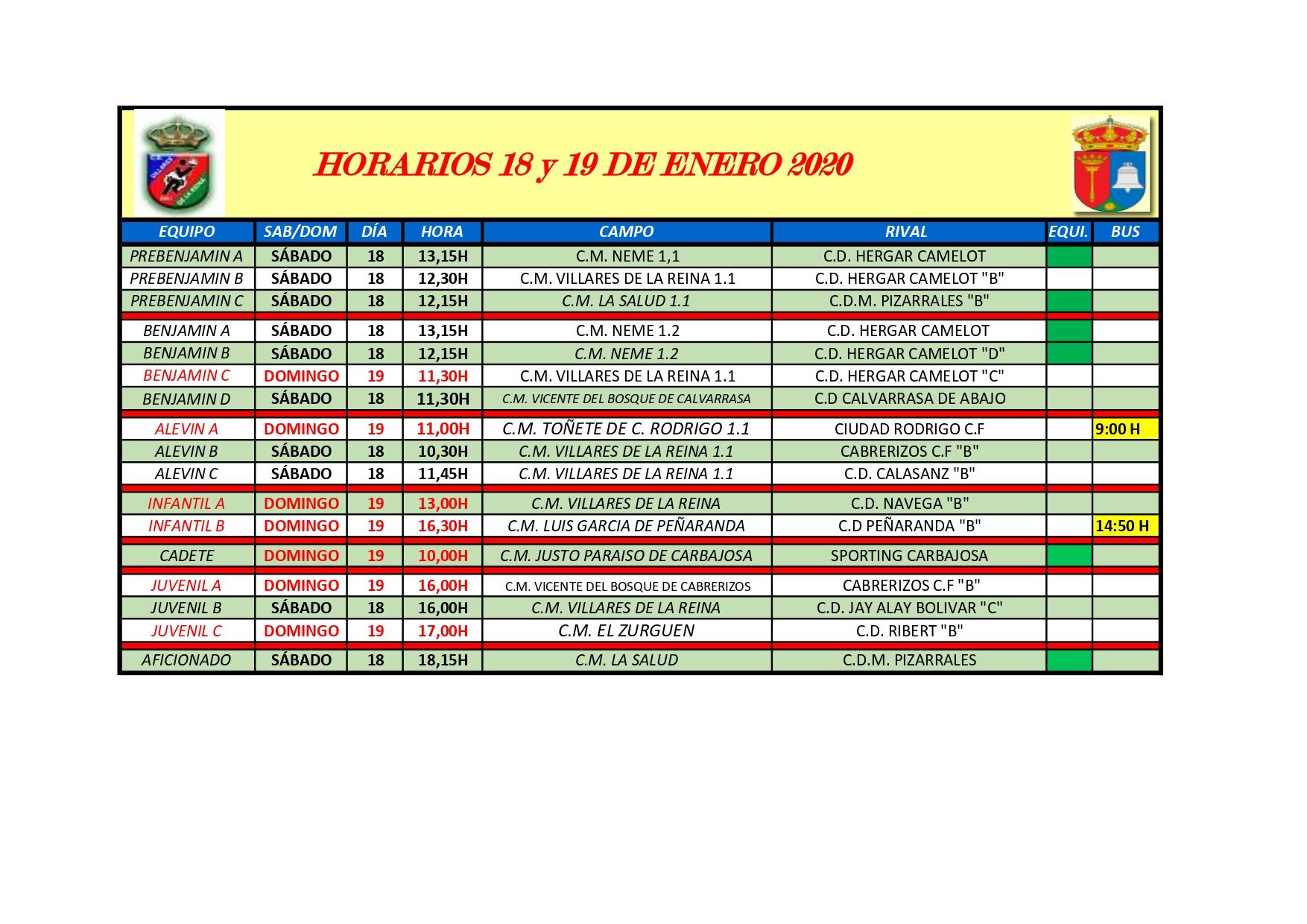 HORARIOS S�BADO 18 Y DOMINGO 19 DE ENERO 2020