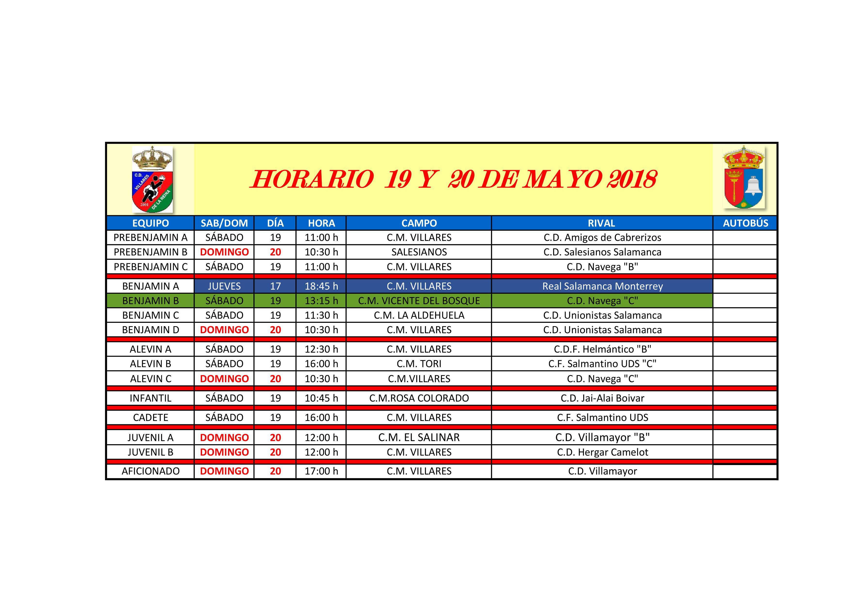 HORARIOS ULTIMA JORNADA 19 Y 20 DE MAYO
