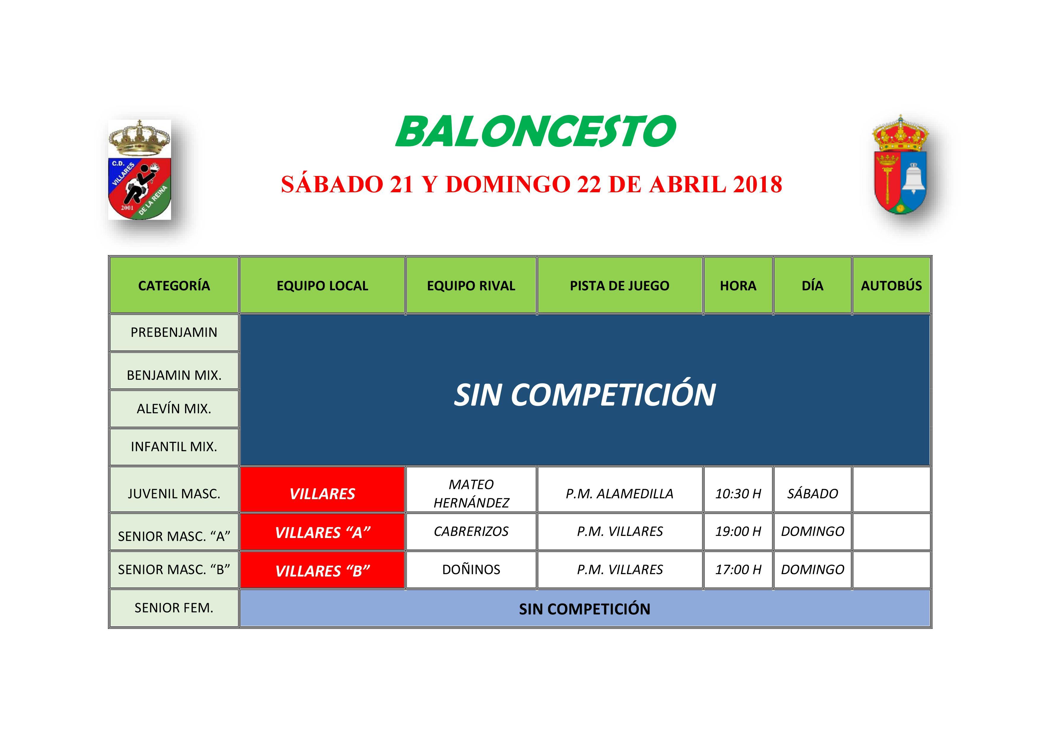 HORARIO BALONCESTO 21-22 ABRIL
