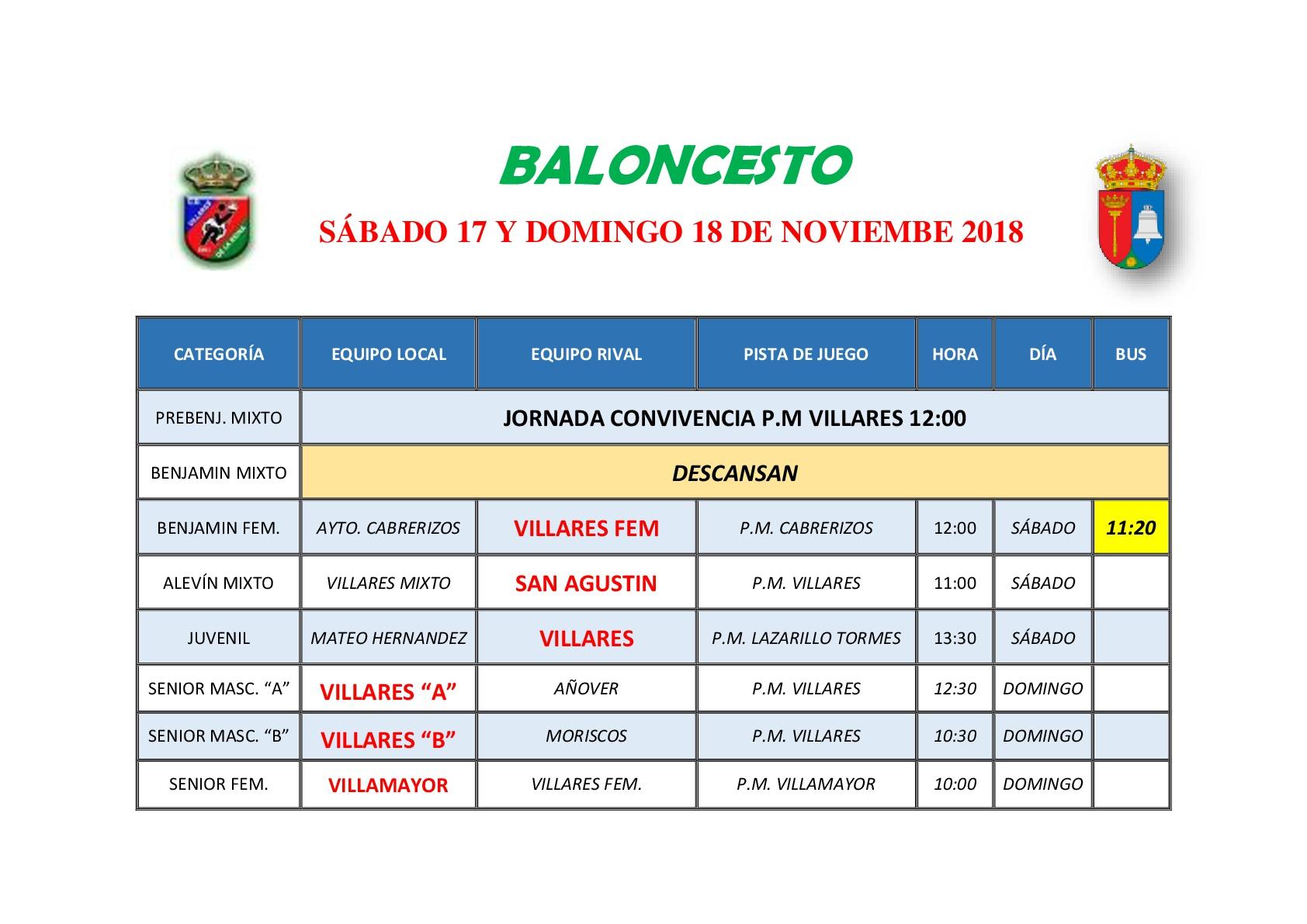 HORARIOS DE BALONCESTO S�BADO 1 Y DOMINGO 2 DE DICIEMBRE