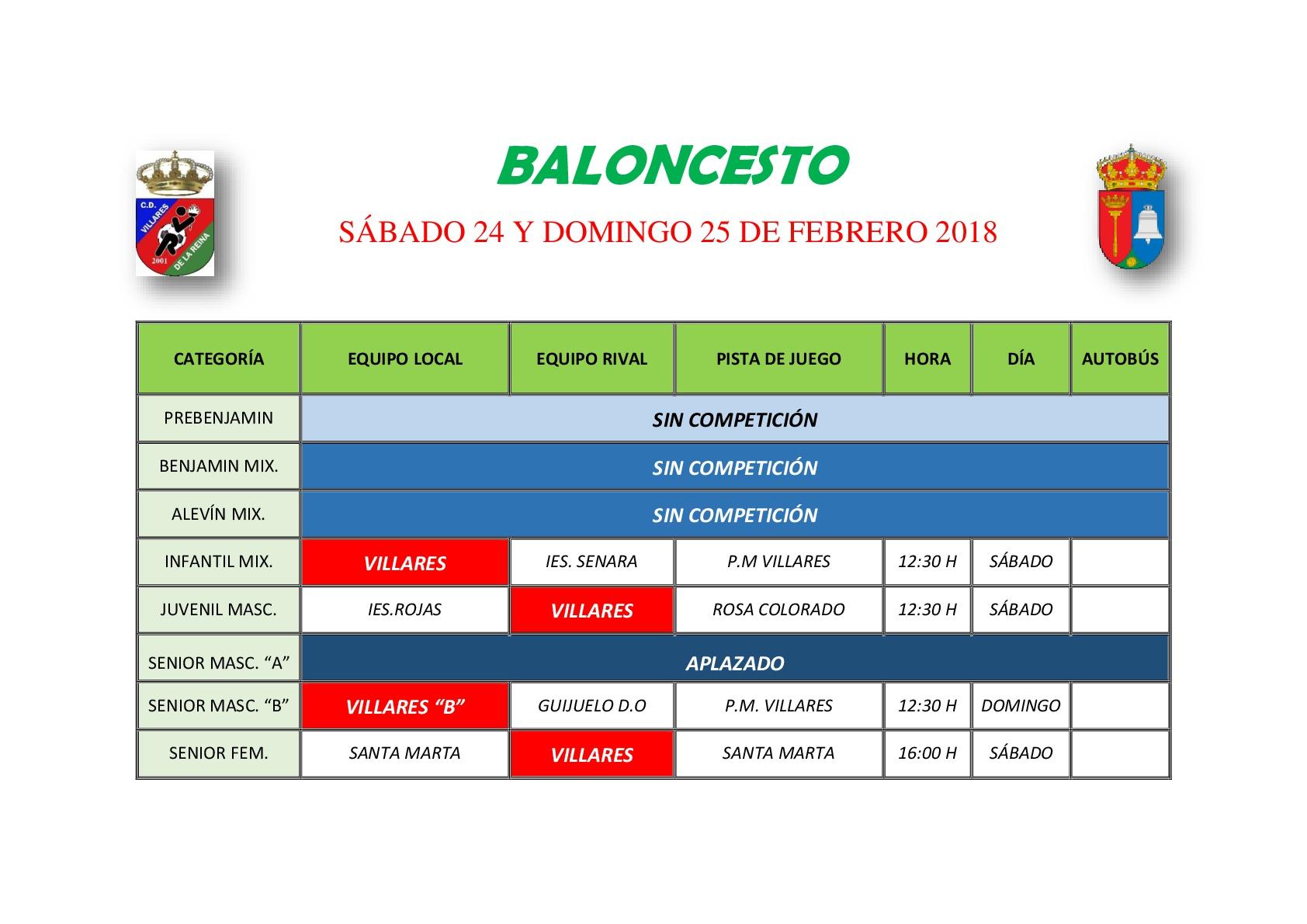 Horario Baloncesto 24/25 Febrero
