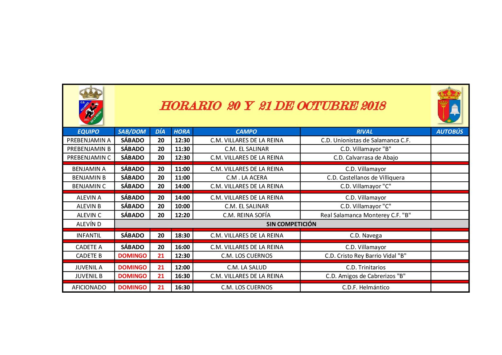 Horarios de f�tbol fin de semana 20 y 21 de Octubre
