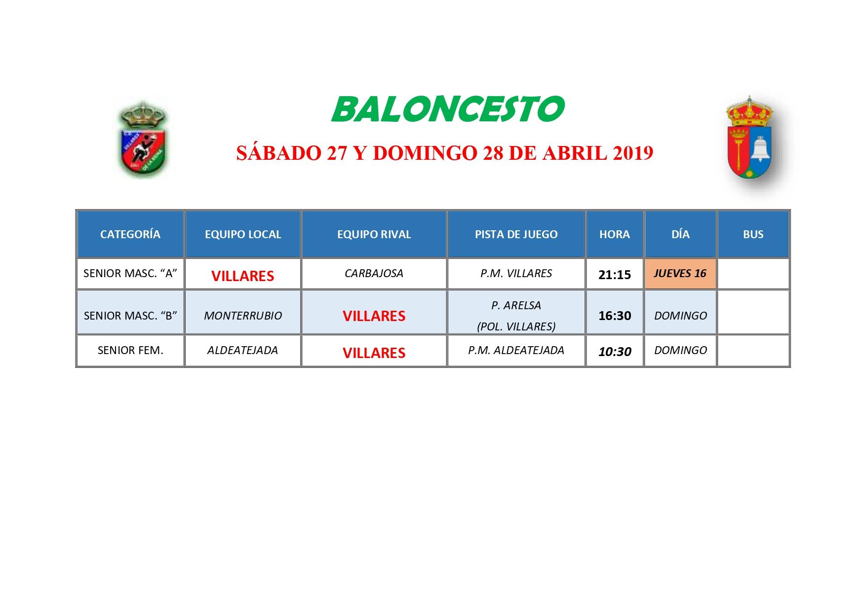 HORARIOS DE BALONCESTO S�BADO 11 Y DOMINGO 12 DE MAYO
