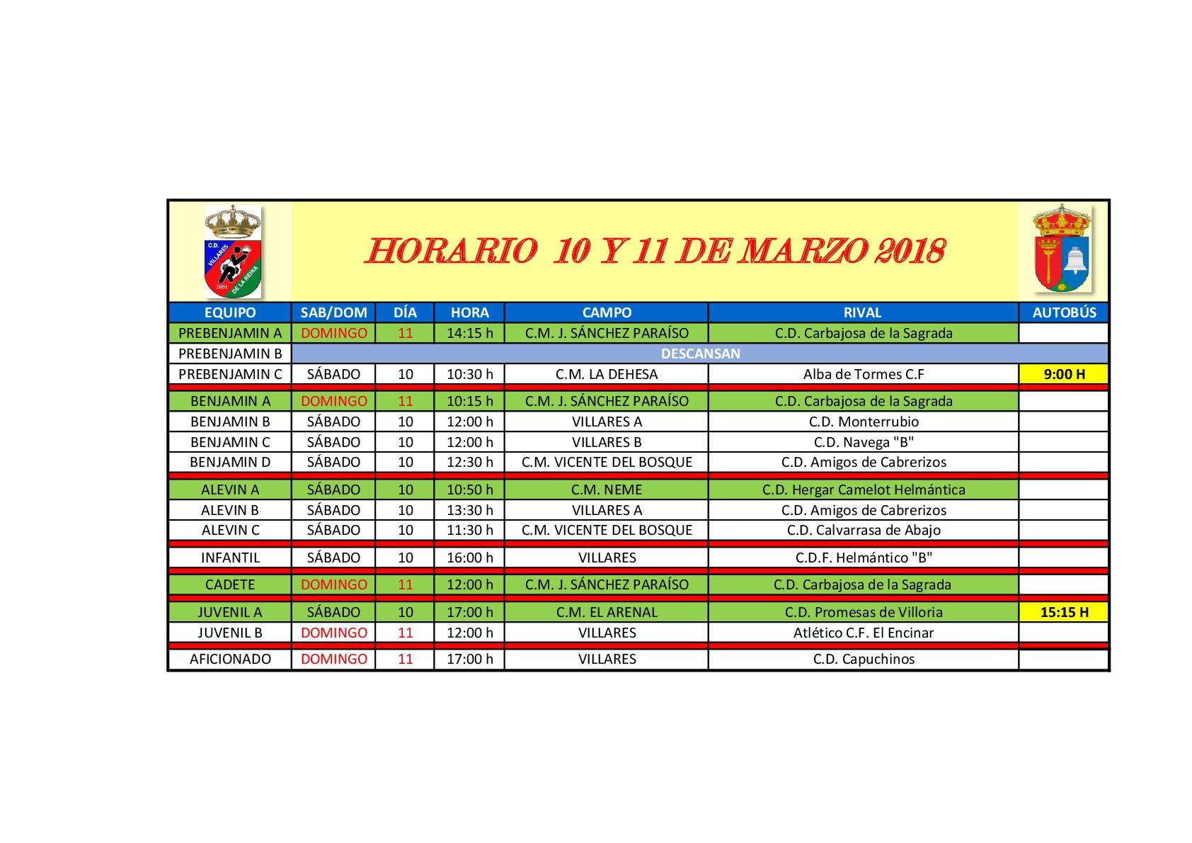 Horarios de futbol 10-11Marzo