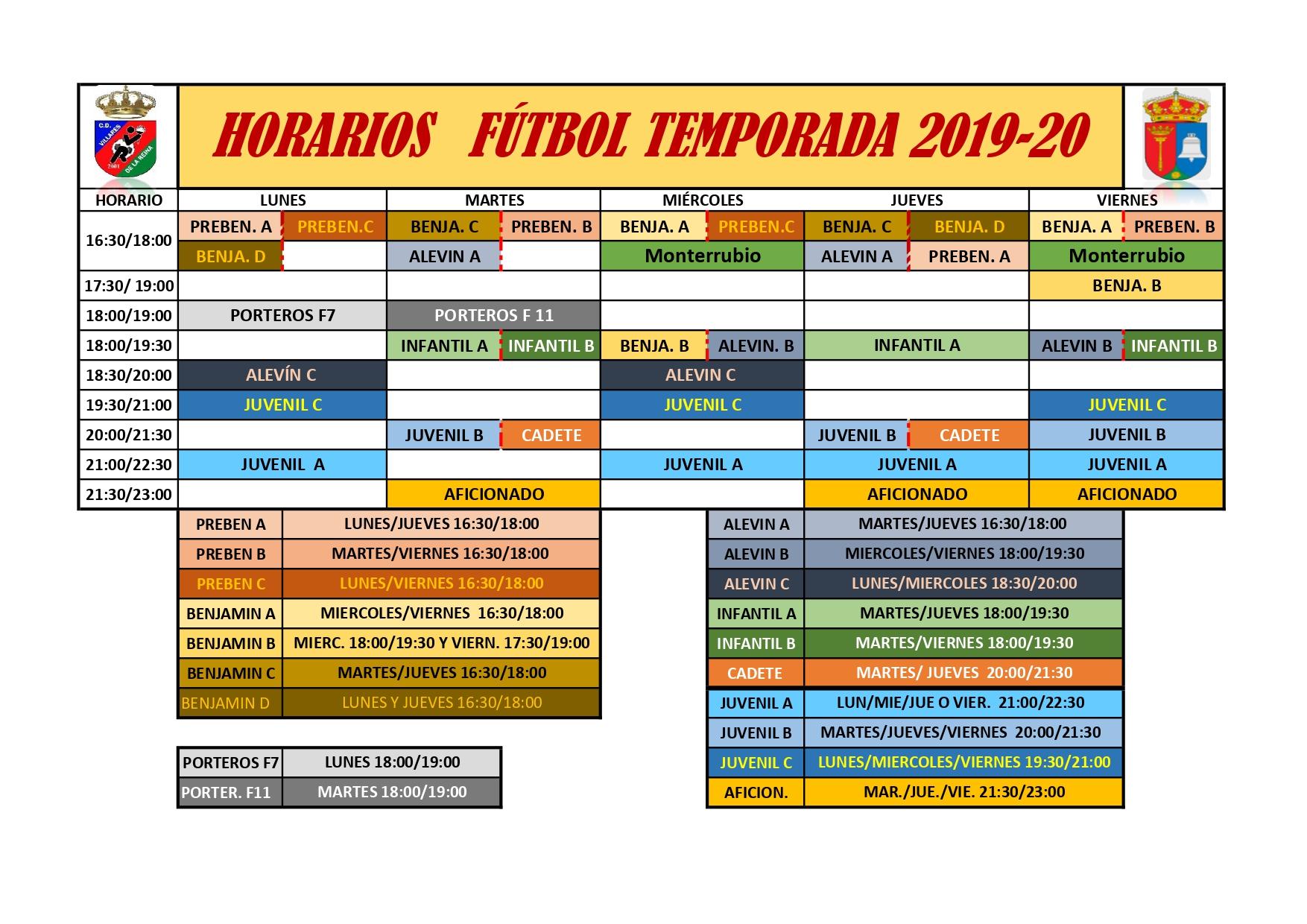 HORARIOS DE ENTRENAMIENTOS DE F�TBOL TEMPORADA 2019-2020