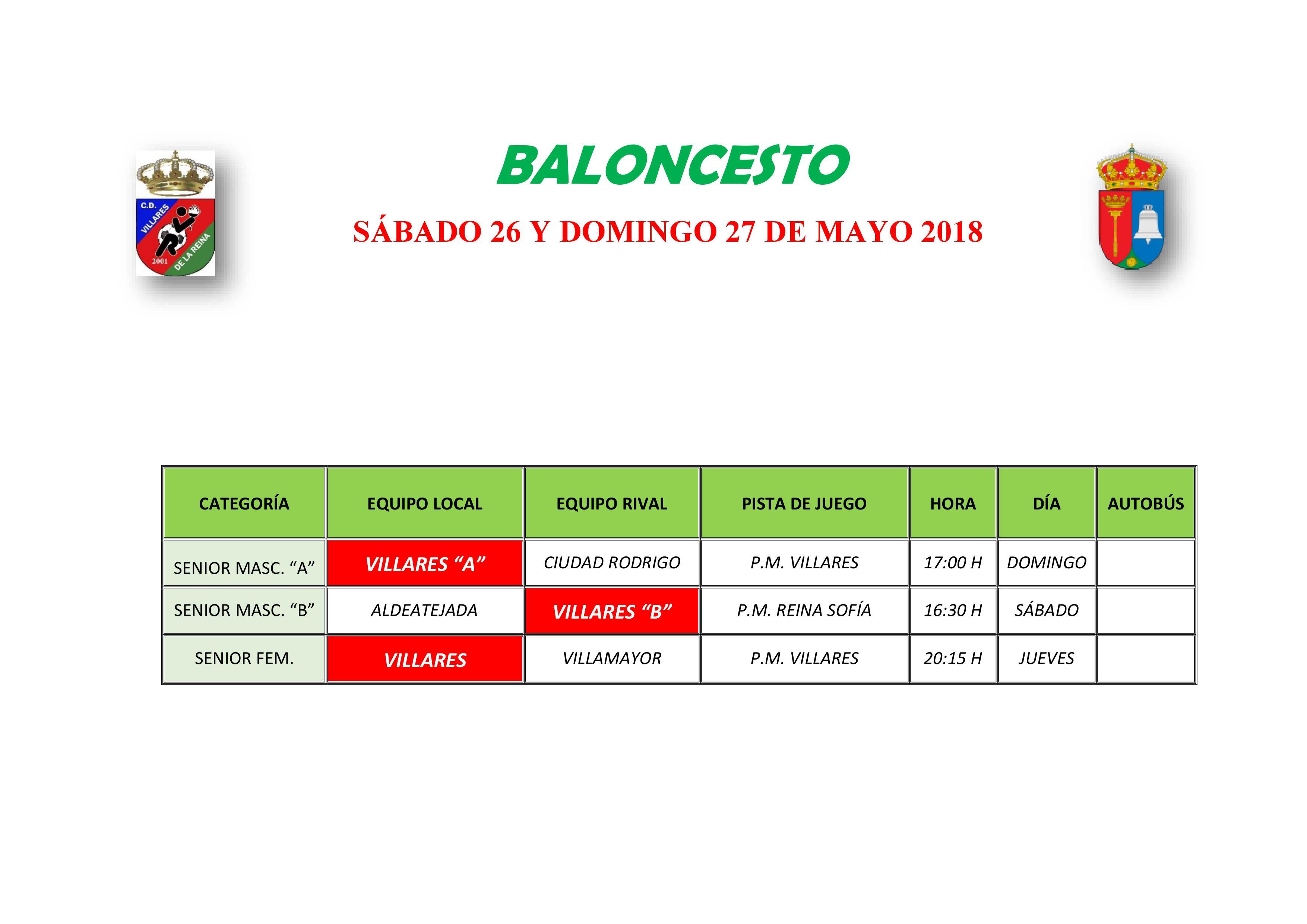 HORARIOS S�BADO 26 Y DOMINGO 27 DE MAYO
