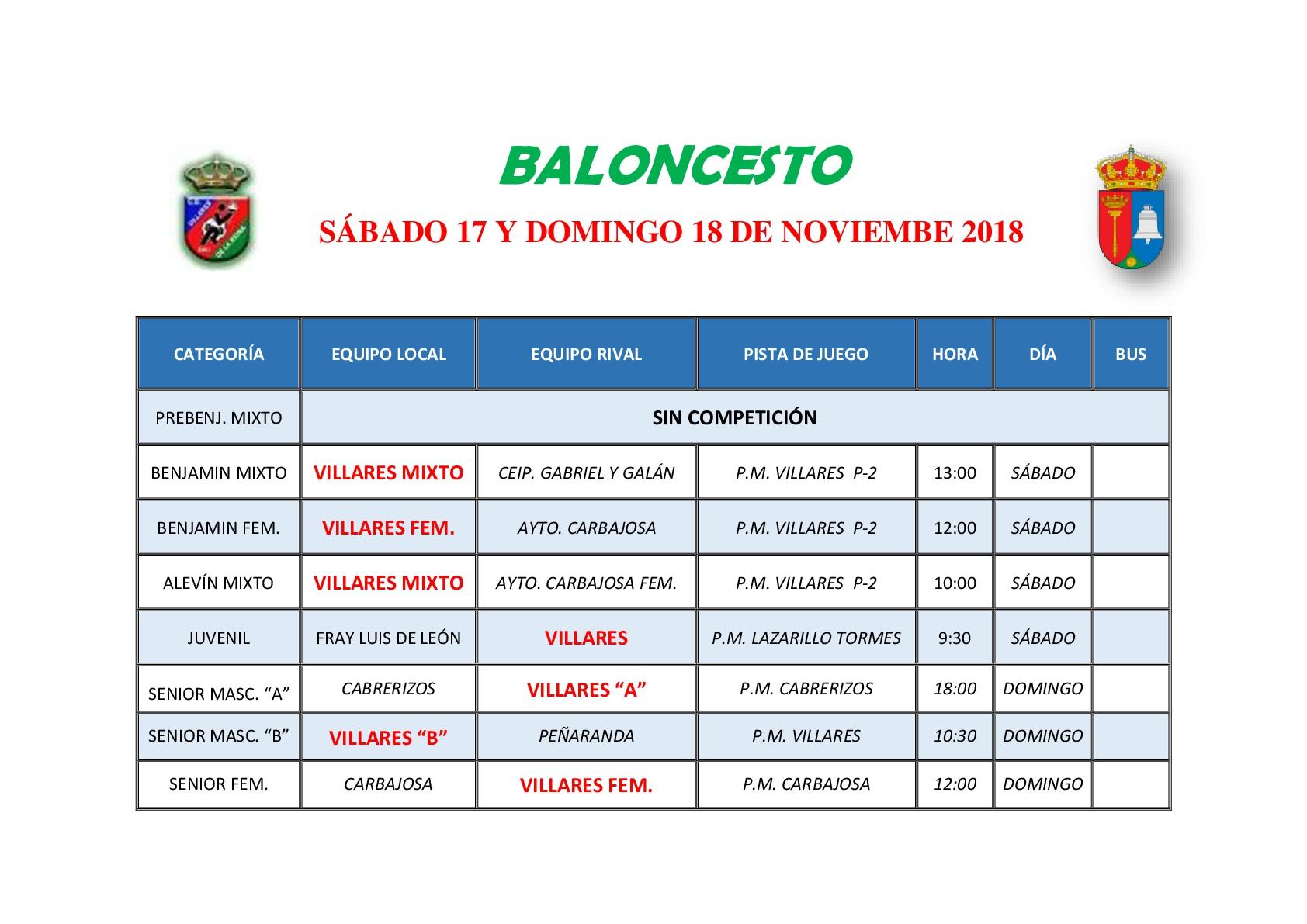 HORARIOS BALONCESTO S�BADO 17 Y DOMINGO 18 DE NOVIEMBRE