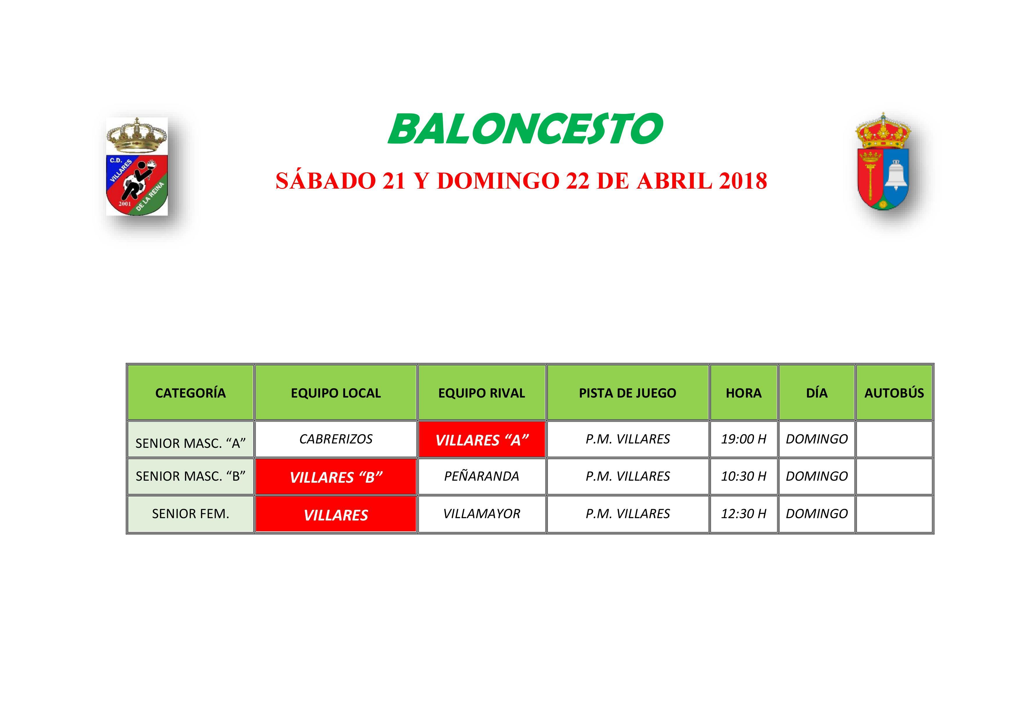 HORARIO BALONCESTO 19 Y 20 DE MAYO