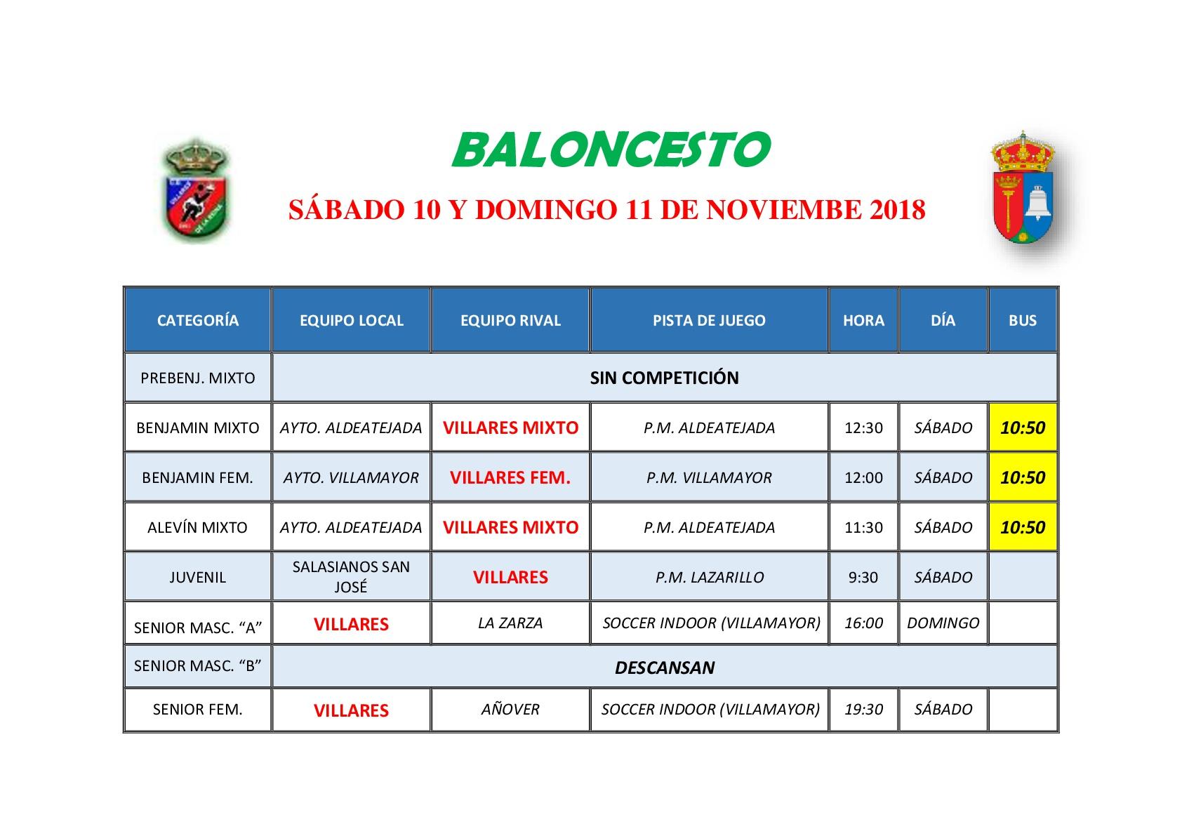 HORARIOS DE BALONCESTO S�BADO 10 Y DOMINGO 11 DE NOVIEMBRE
