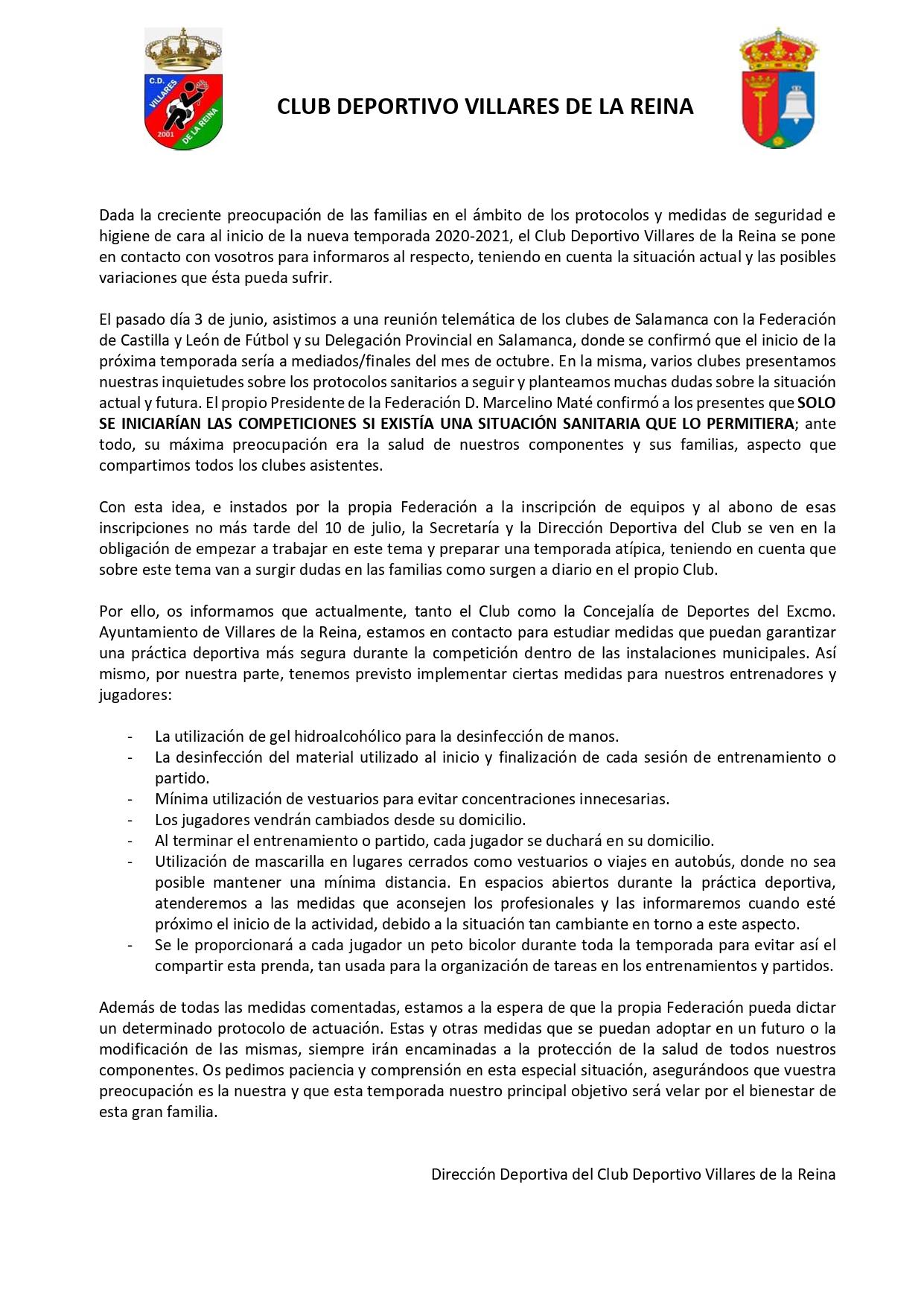COMUNICADO MEDIDAS DE PROTECCI�N 2020-21
