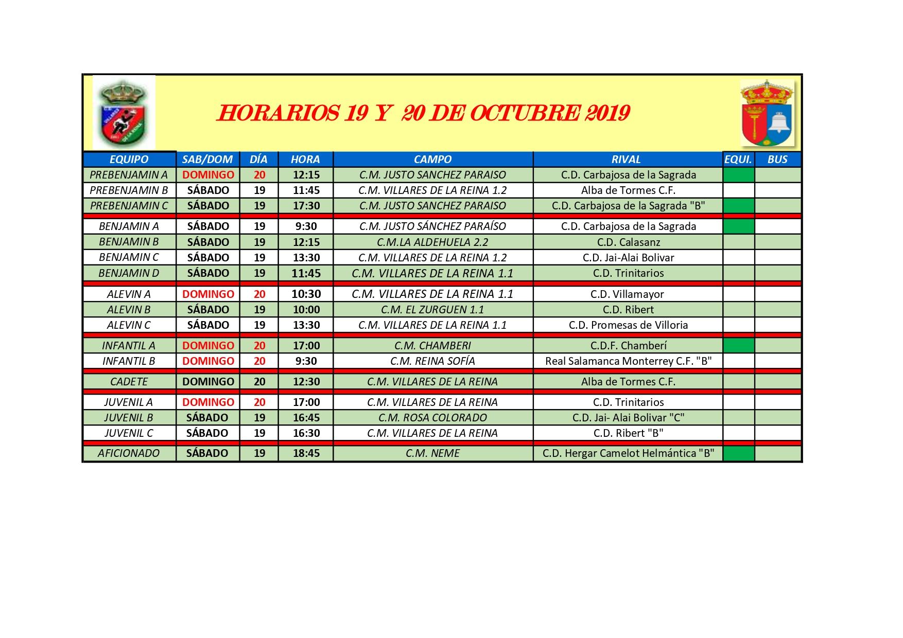 HORARIOS S�BADO 19 Y DOMINGO 20 DE OCTUBRE
