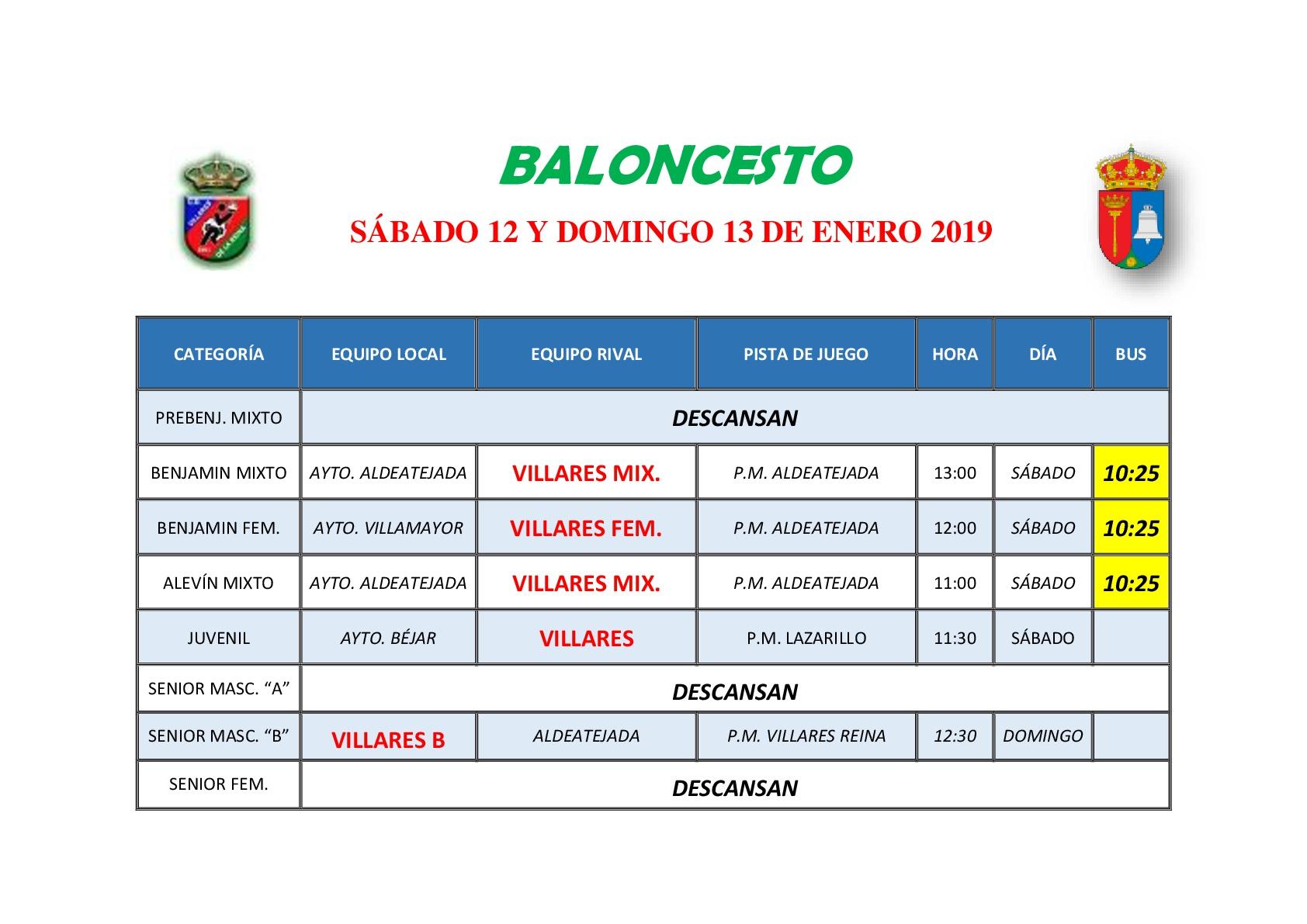 HORARIOS BALONCESTO 12 Y 13 DE ENERO 2019