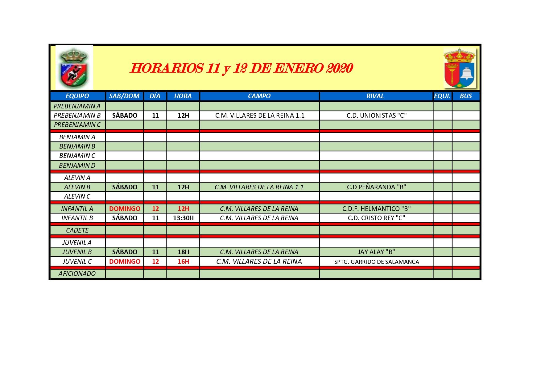 HORARIOS S�BADO 11 Y DOMINGO 12 DE ENERO DE 2020