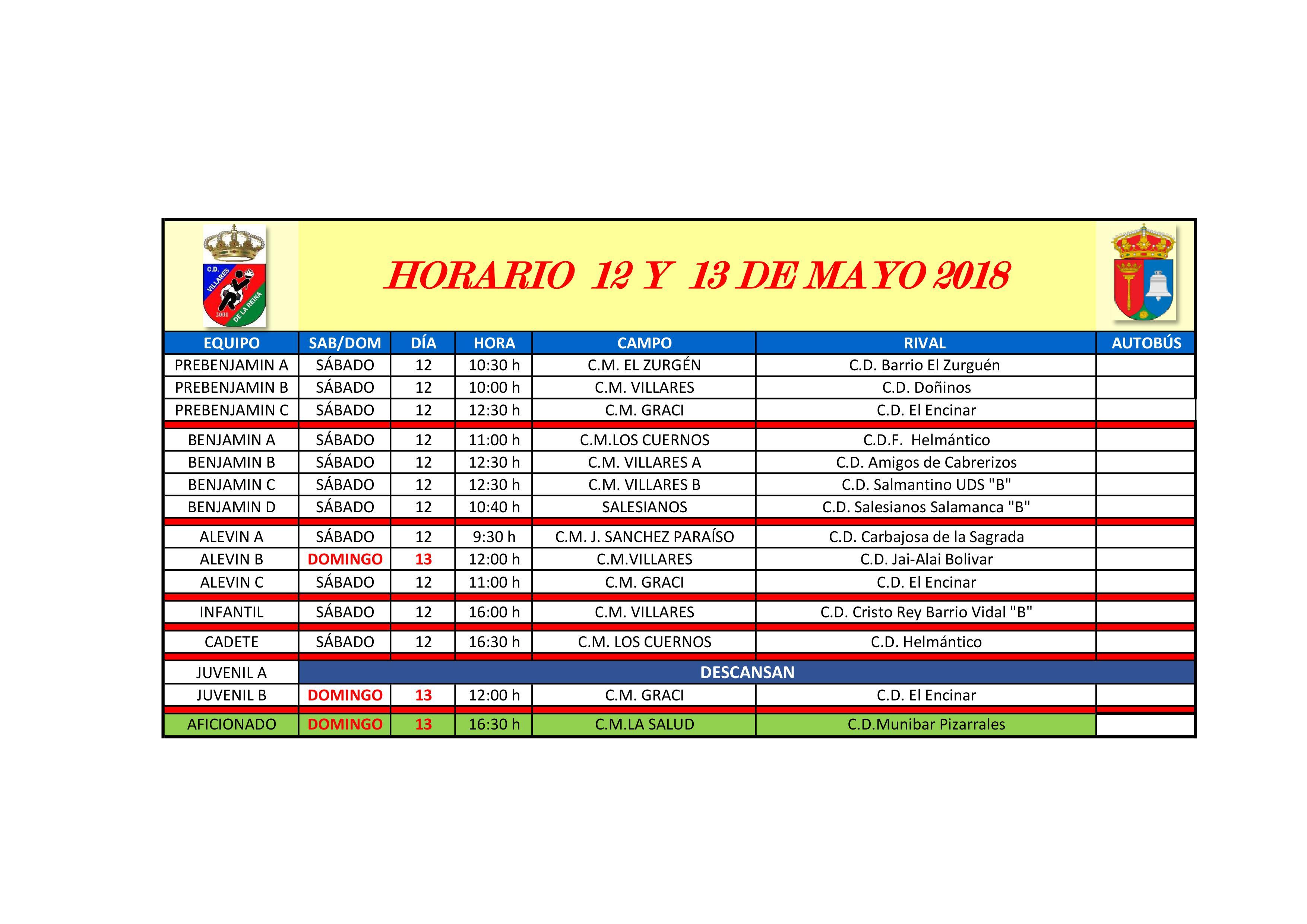 HORARIOS S�BADO 12 Y DOMINGO 13 DE MAYO