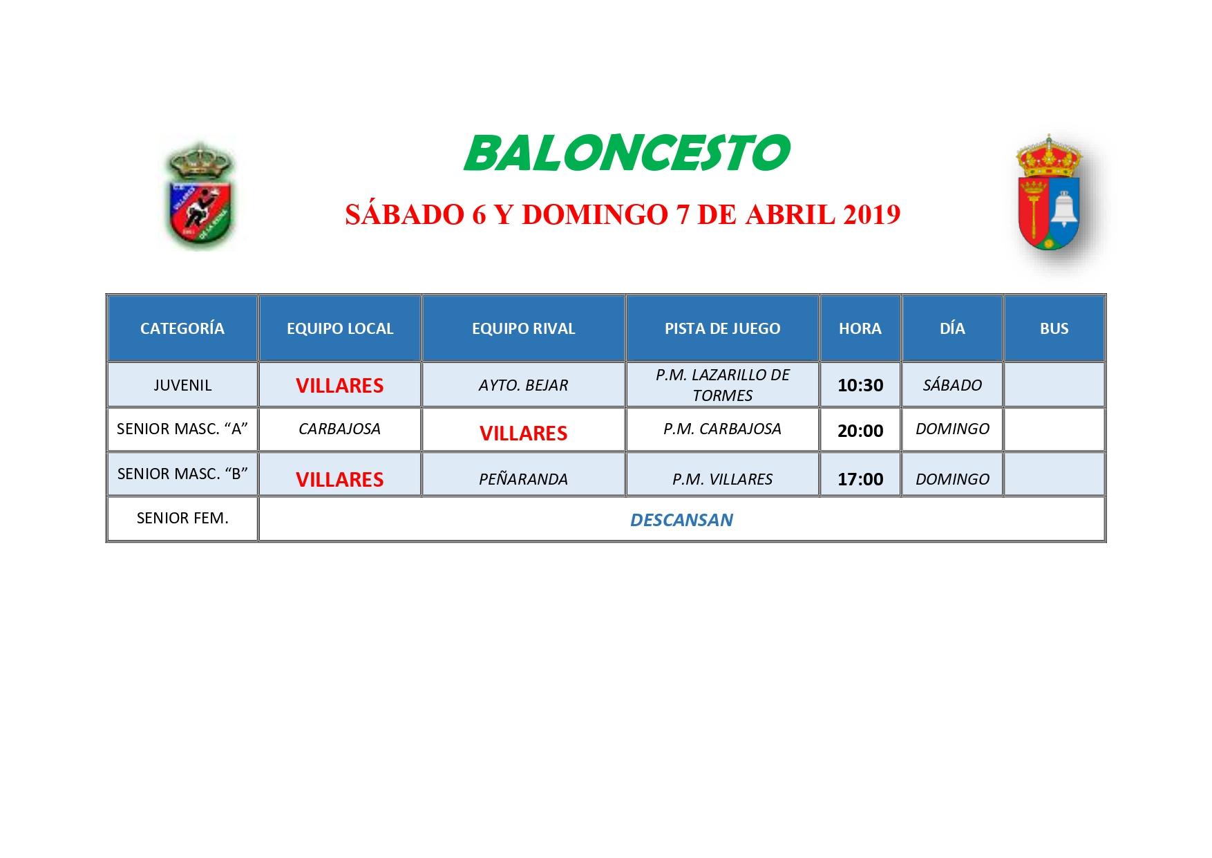 HORARIOS DE BALONCESTO S�BADO 6 Y DOMINGO 7 DE ABRIL