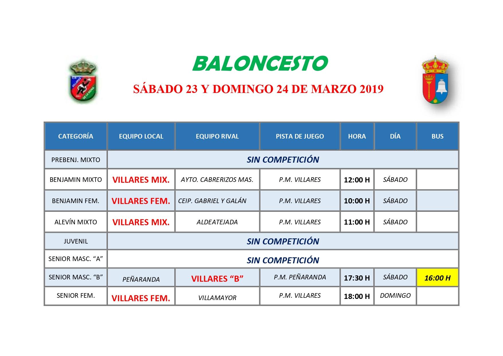 HORARIOS DE BALONCESTO S�BADO 23 Y DOMINGO 24 DE MARZO