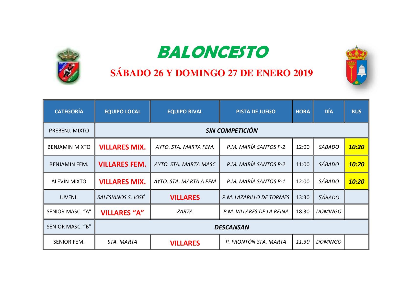 HORARIOS BALONCESTO S�BADO 26 Y DOMINGO 27 DE ENERO