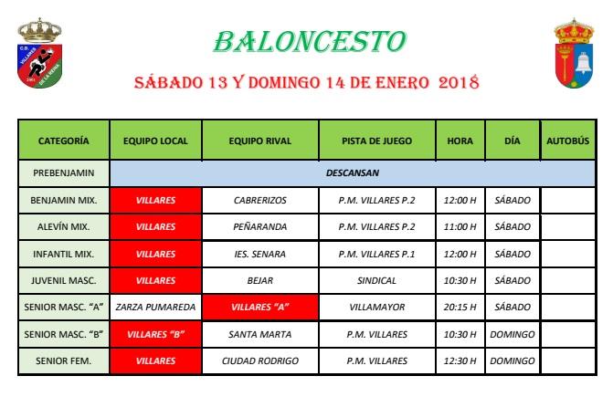 Horarios de Baloncesto 13/14 Enero 2018