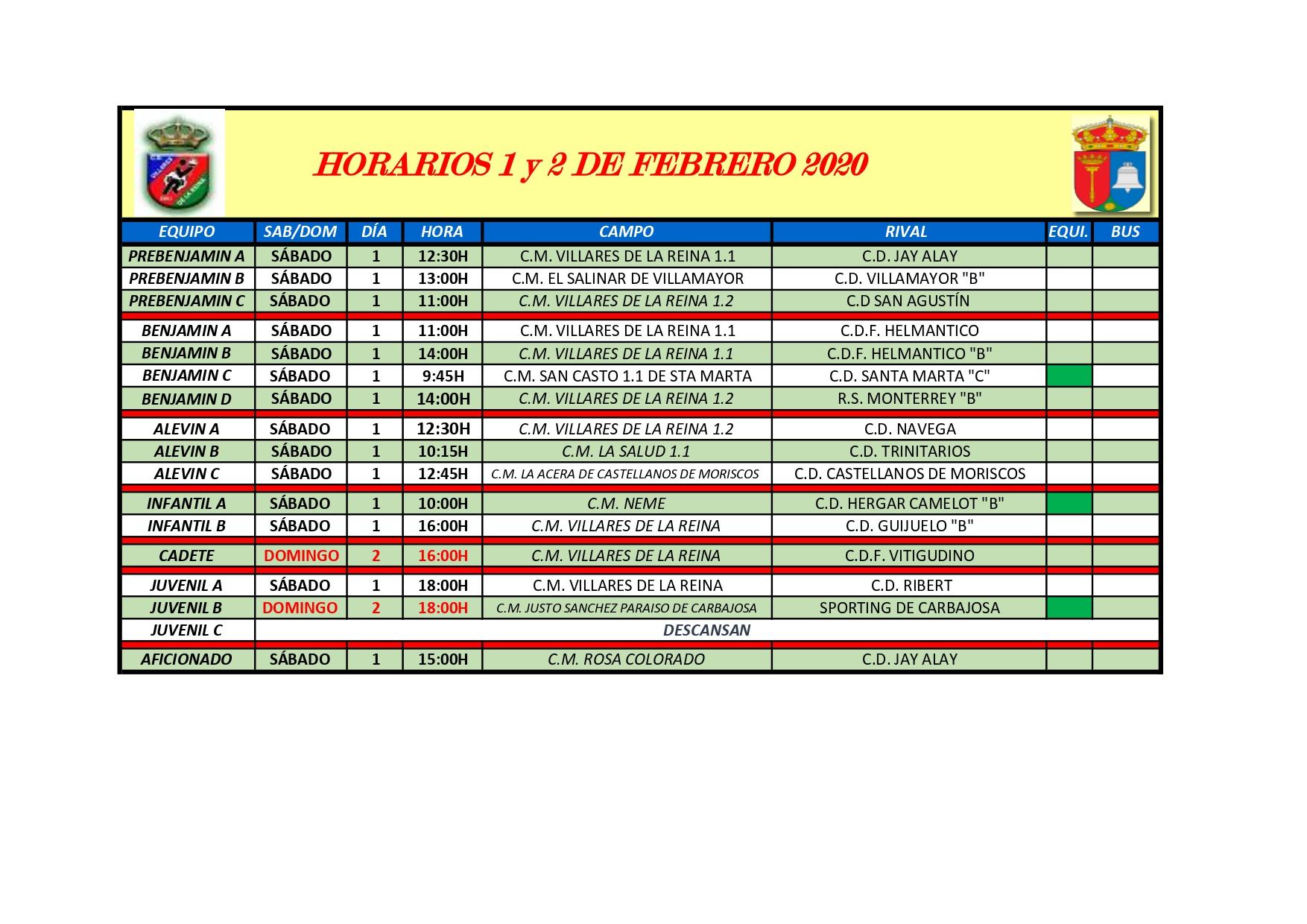 HORARIOS S�BADO 1 Y DOMINGO 2 DE FEBRERO 2020