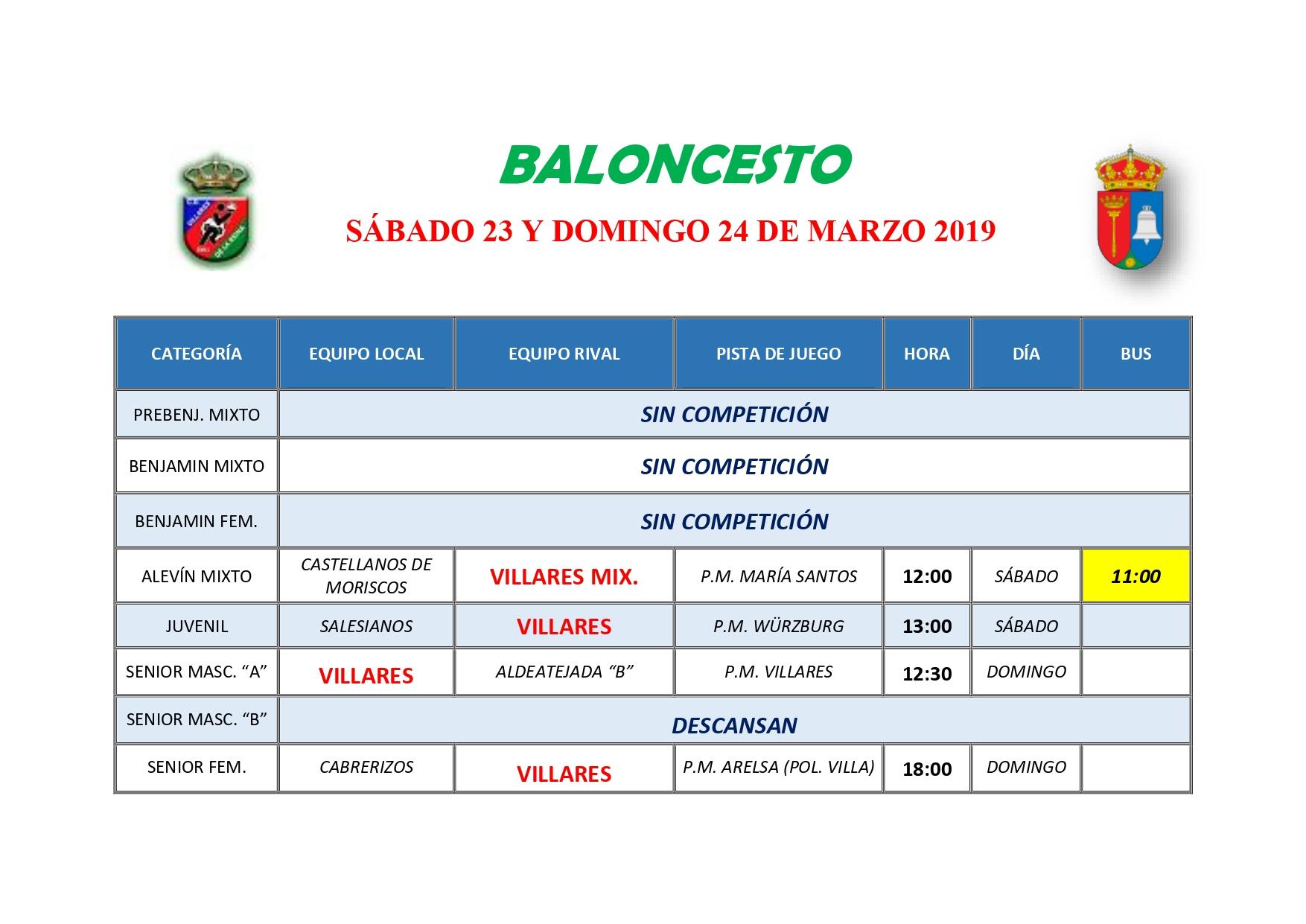 HORARIOS DE BALONCESTO S�BADO 30 Y DOMINGO 31 DE MARZO