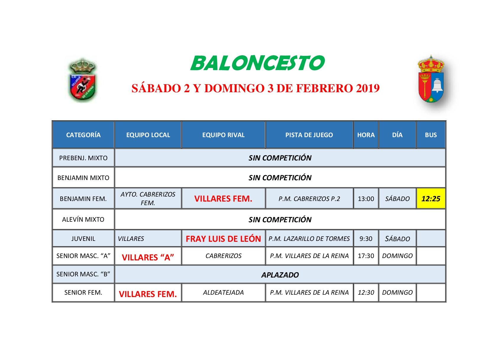 HORARIOS DE BALONCESTO S�BADO 2 Y DOMINGO 3 DE FEBRERO