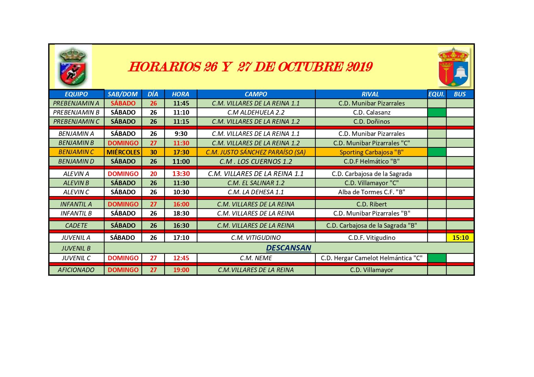 HORARIOS SÁBADO 26 Y DOMINGO 27 DE OCTUBRE