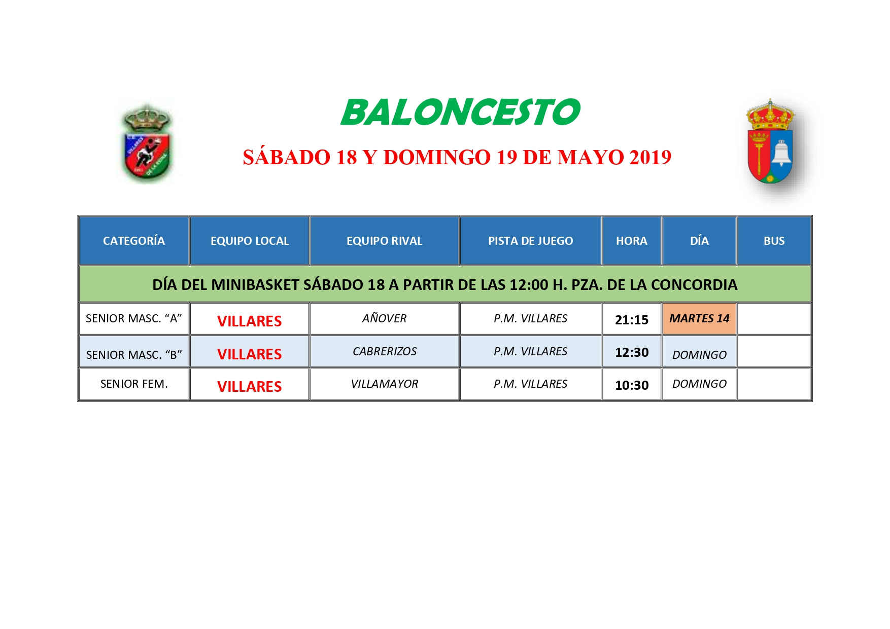 HORARIOS BALONCESTO S�BADO 18 Y DOMINGO 19 DE MAYO
