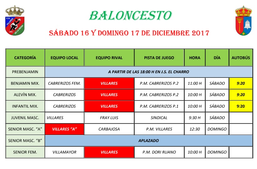 Horario Baloncesto 16/17 Diciembre 2017