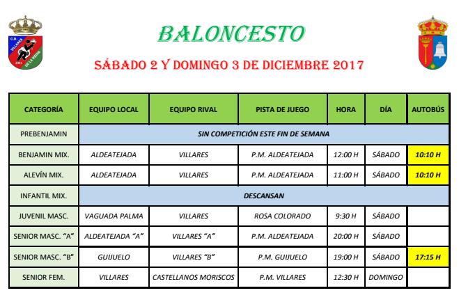 Horario Baloncesto 2/3 Diciembre 2017