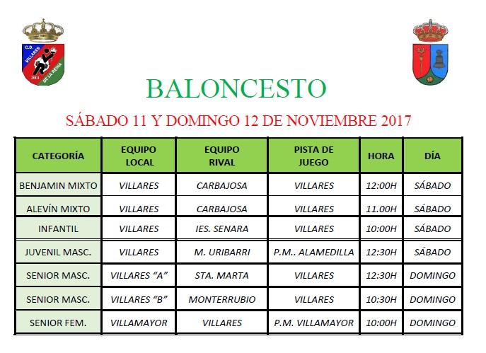 Horario Baloncesto 11/12 Noviembre 2017