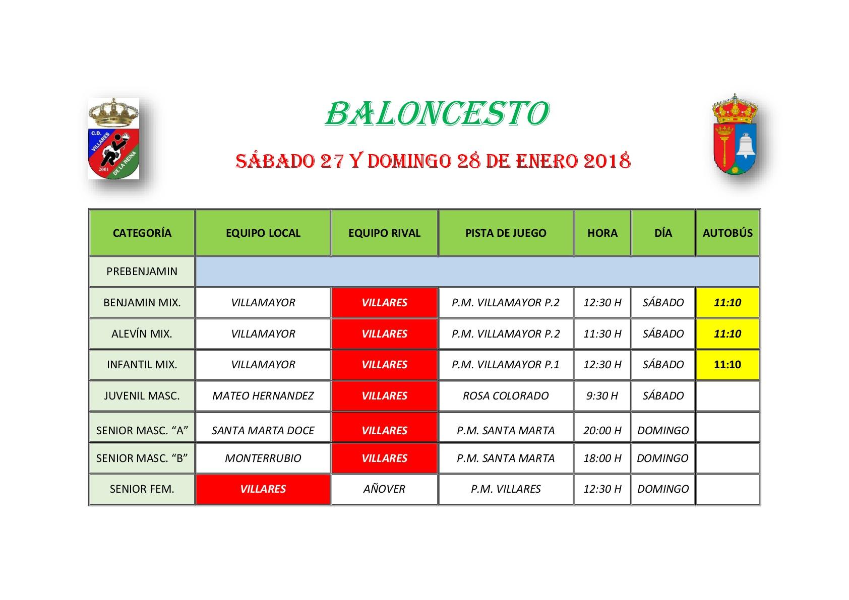 Horario Baloncesto 27/28 Enero 2018