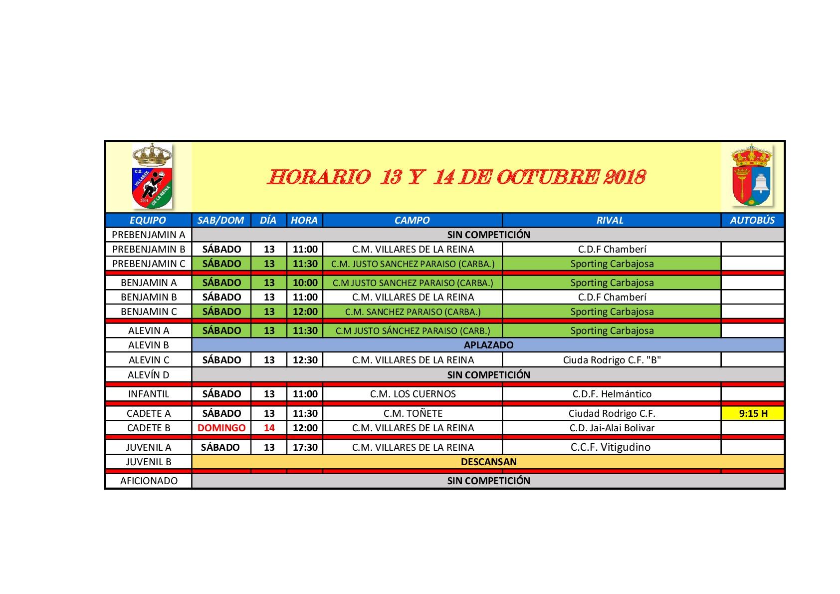 Horarios 3� jornada de f�tbol, s�bado 13 y domingo 14 de Octubre