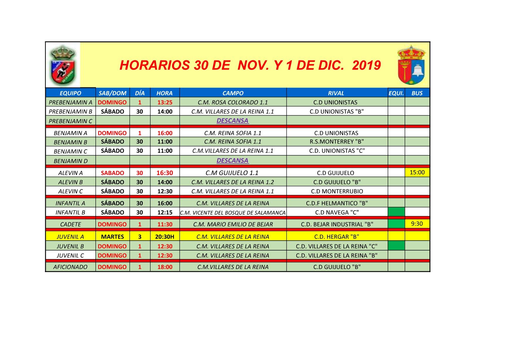 HORARIOS S�BADO 30 NOVIEMBRE Y DOMINGO 1 DE DICIEMBRE