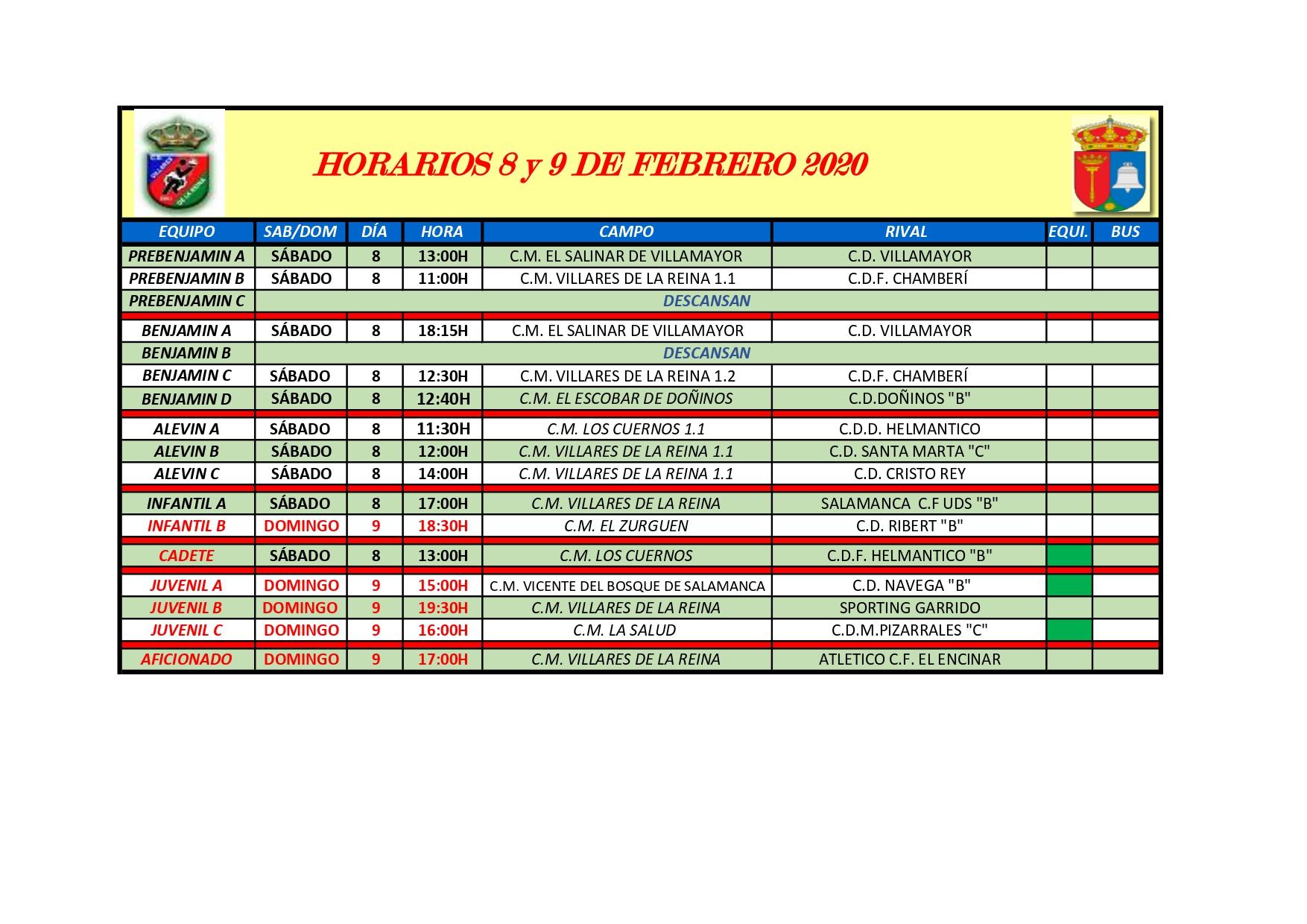 HORARIOS S�BADO 8 Y DOMINGO 9 DE FEBRERO 2020