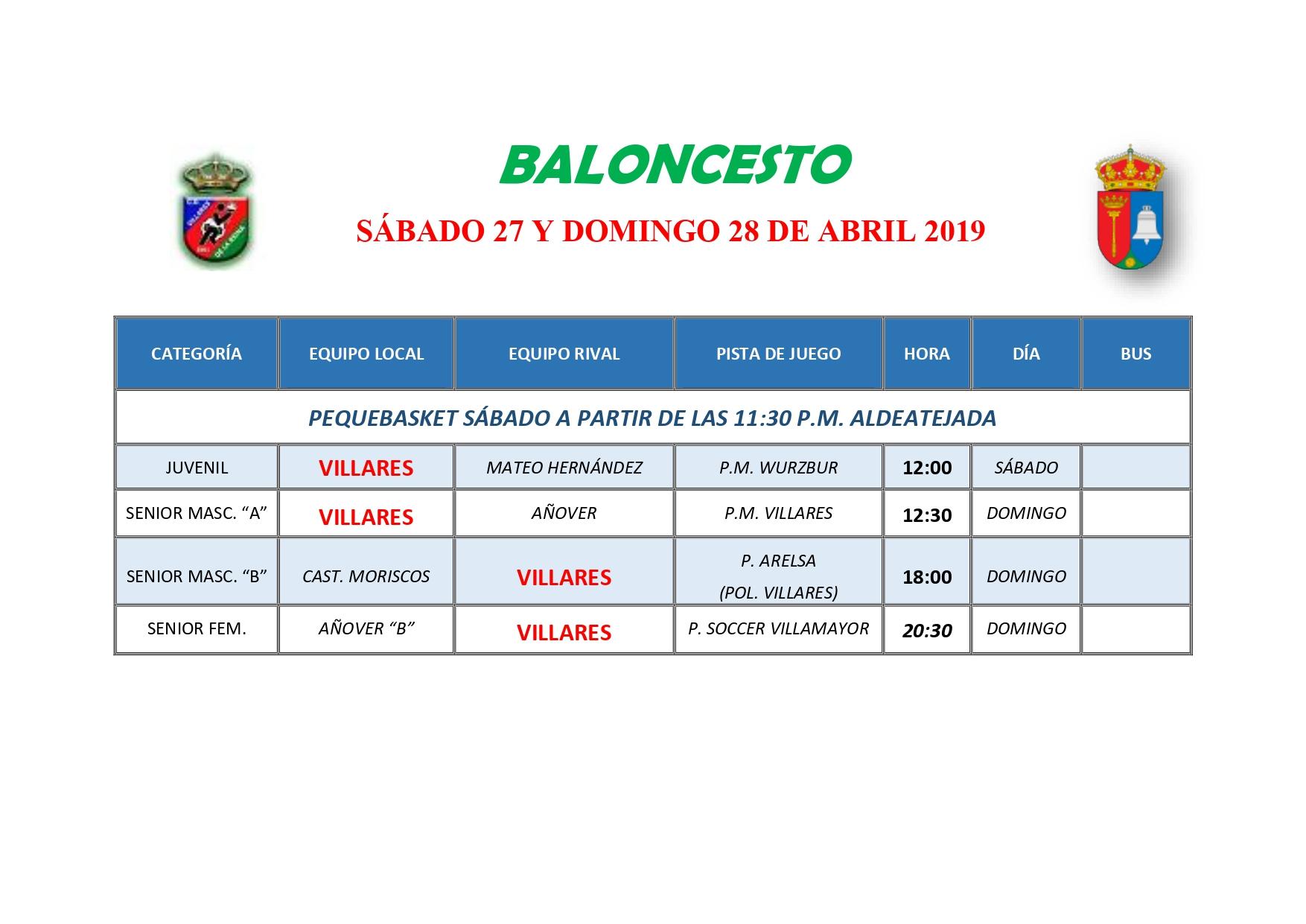 HORARIOS DE BALONCESTO S�BADO 27 Y DOMINGO 28