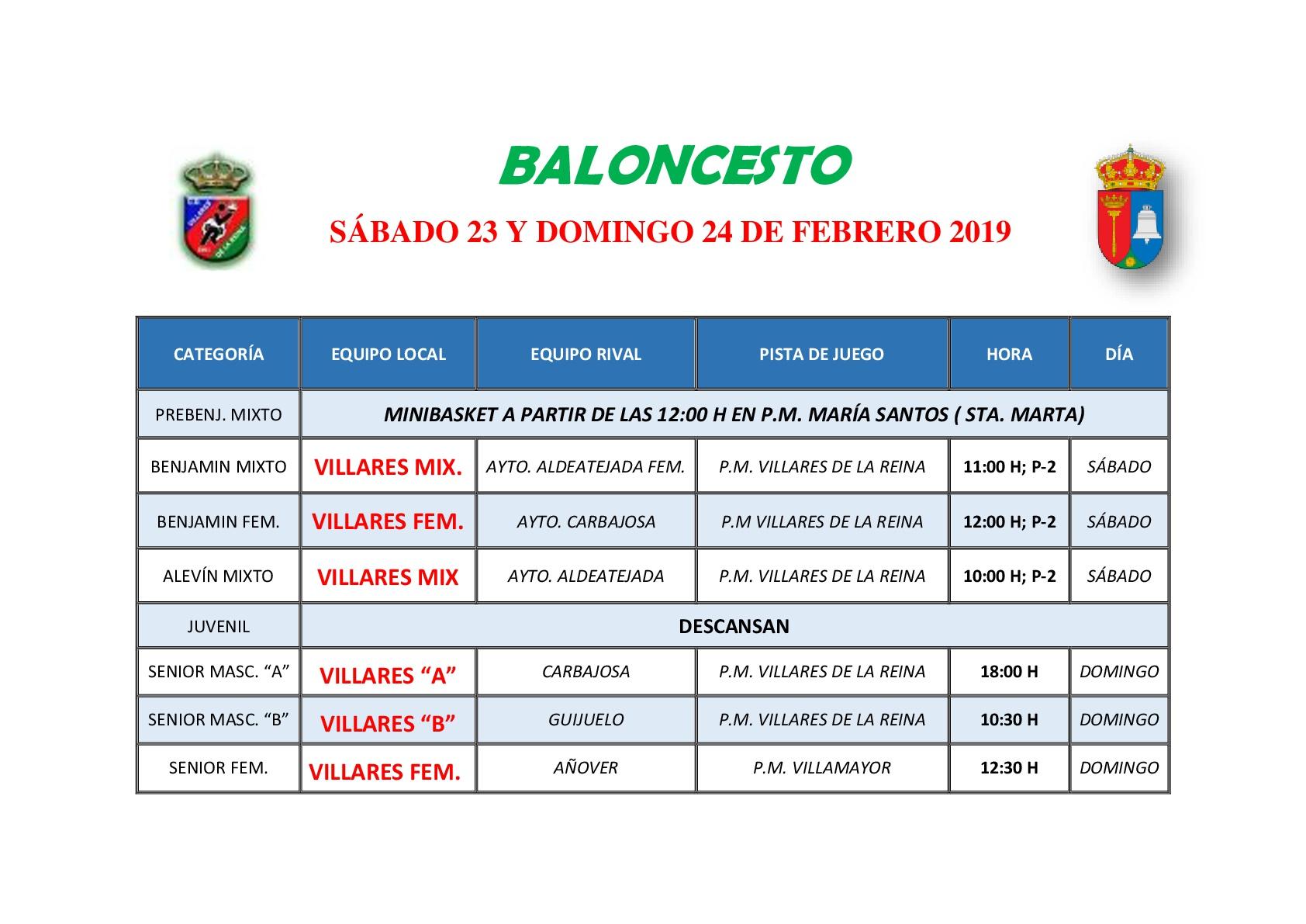 HORARIOS DE BALONCESTO S�BADO 23 Y DOMINGO 24 DE FEBRERO