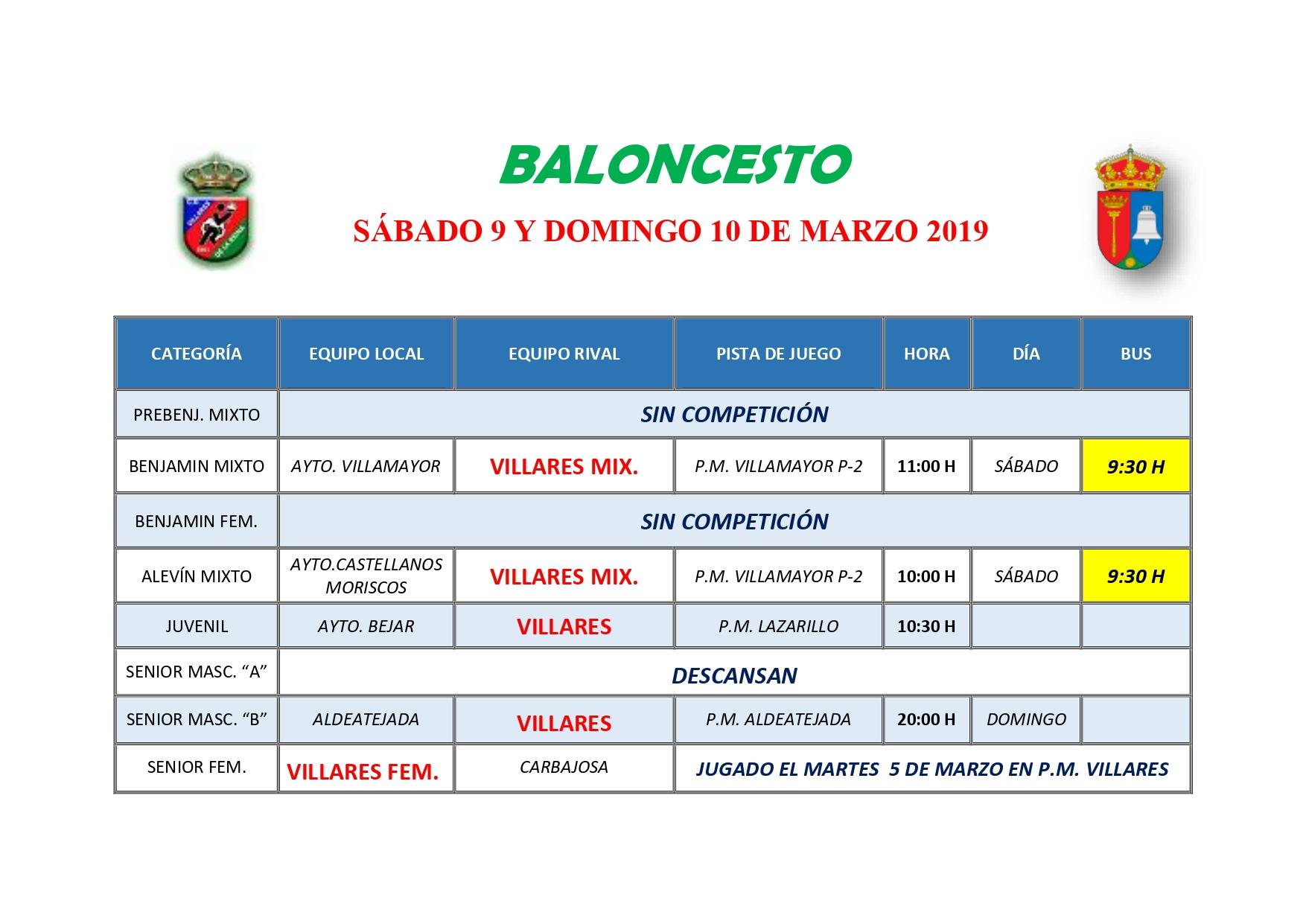 HORARIO DE BALONCESTO S�BADO 9 Y DOMINGO 1O DE MARZO