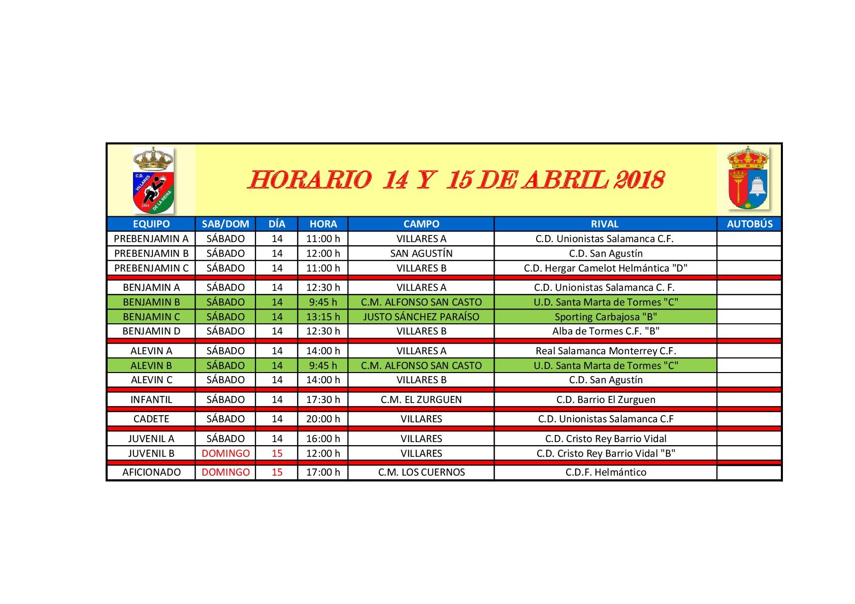 Horarios futbol 14-15 Abril