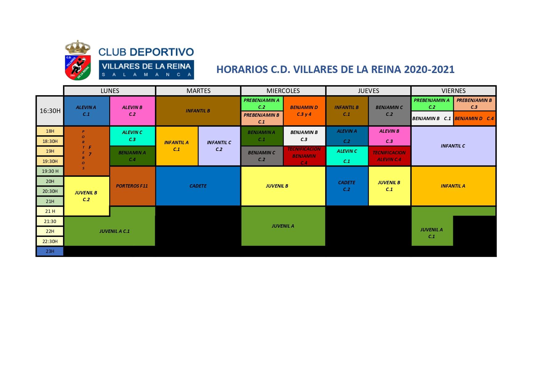 HORARIOS DE ENTRENAMIENTO TEMPORADA 2020_21