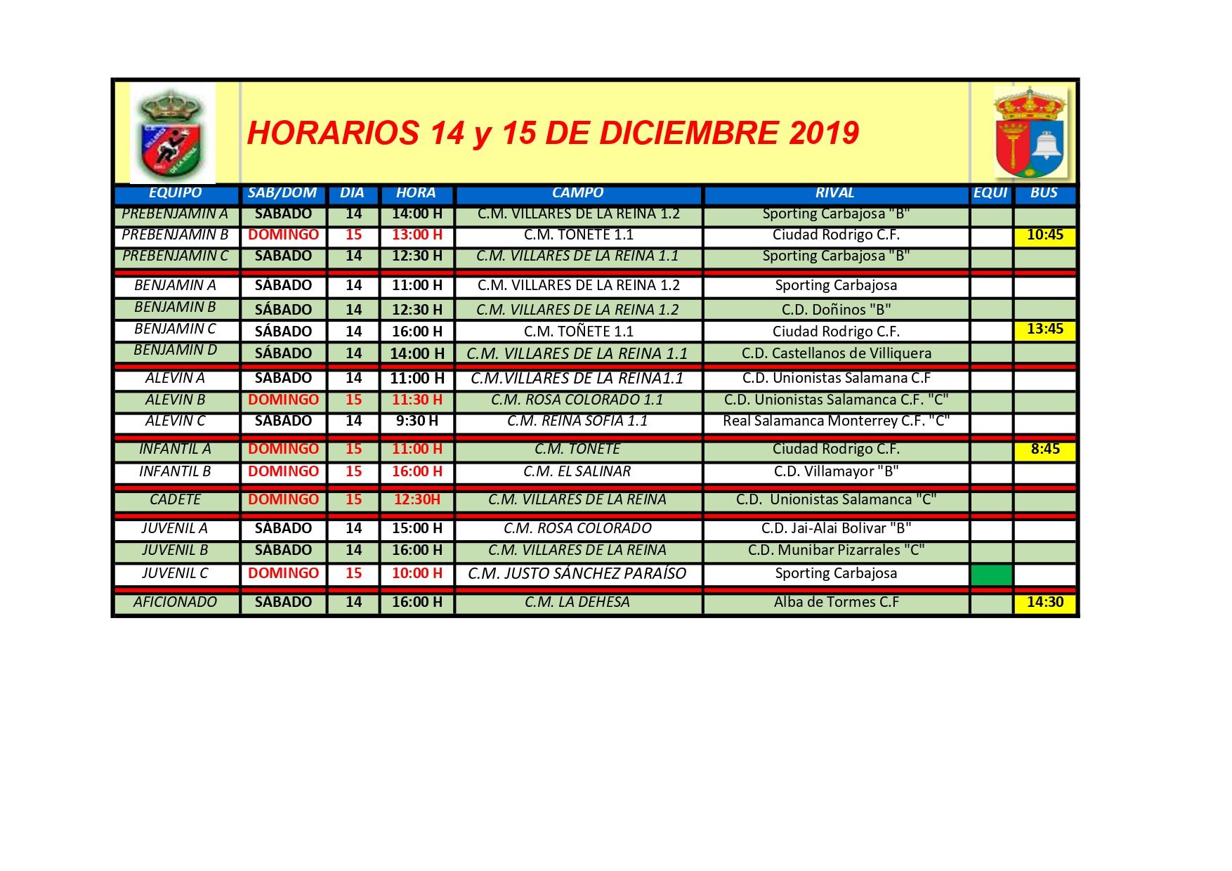 HORARIOS SÁBADO 14 Y DOMINGO 15 DE DICIEMBRE