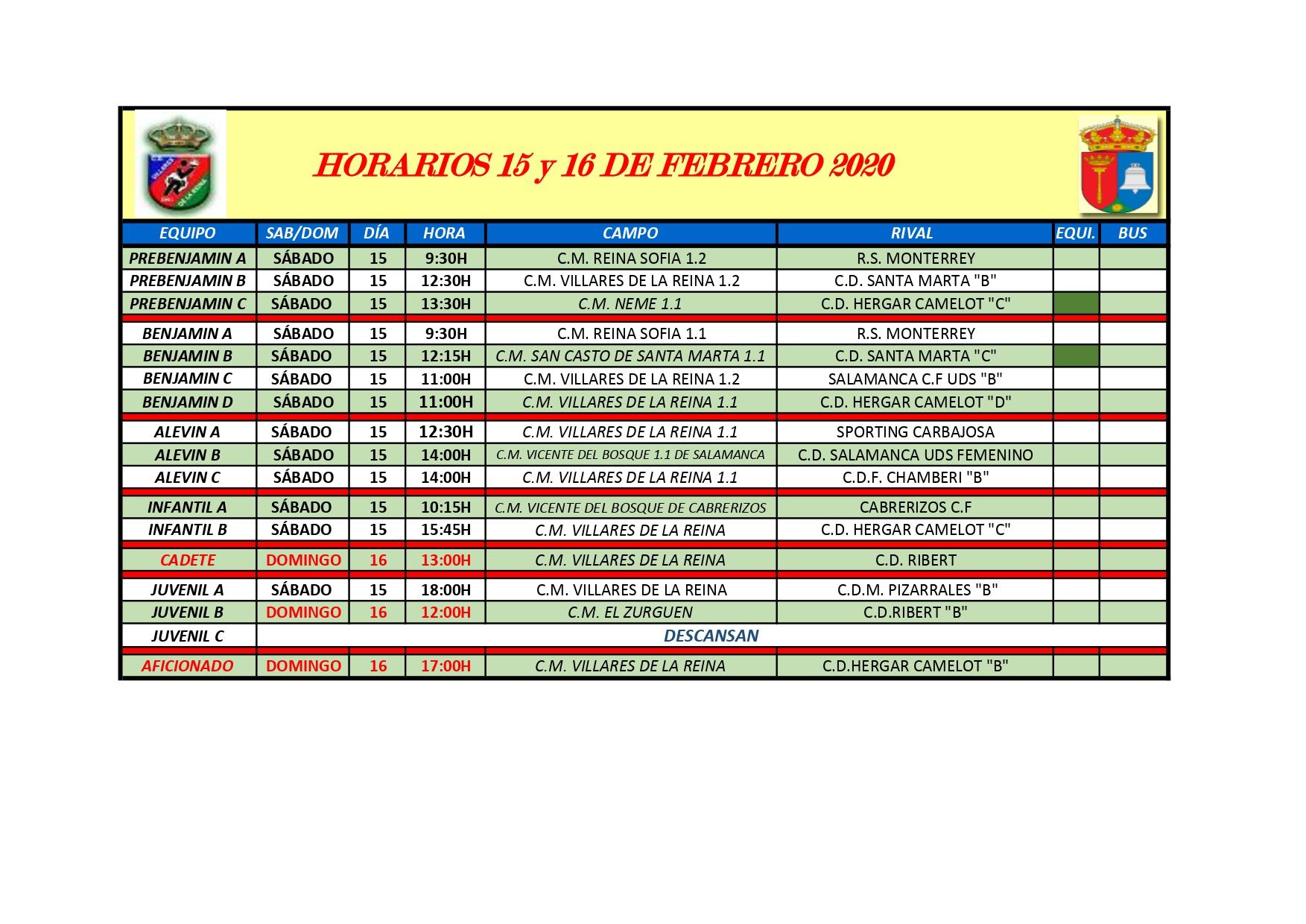 HORARIOS DE F�TBOL S�BADO 14 Y DOMINGO 15 DE FEBRERO 2020
