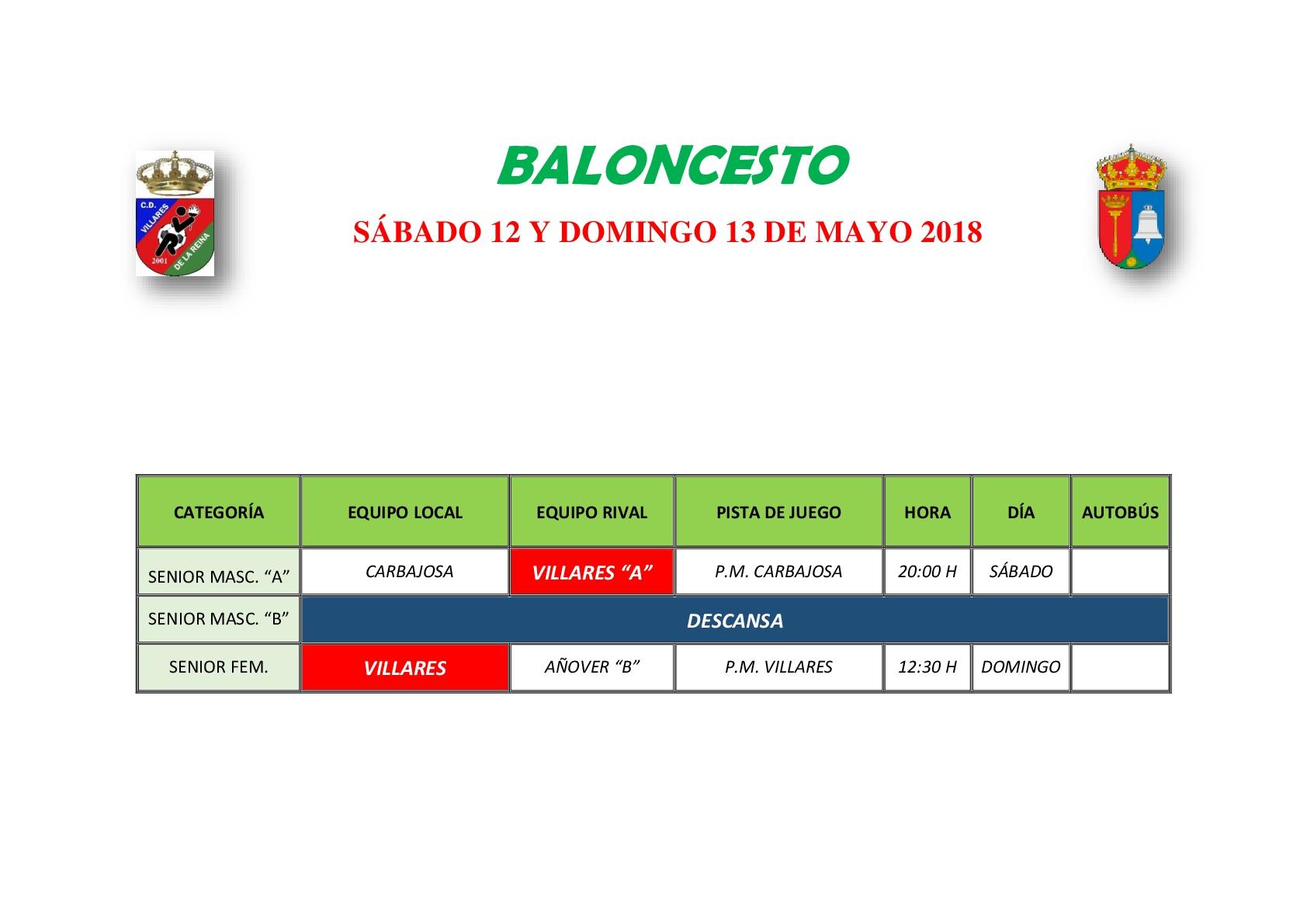 HORARIO BALONCESTO 12 Y 13 DE MAYO