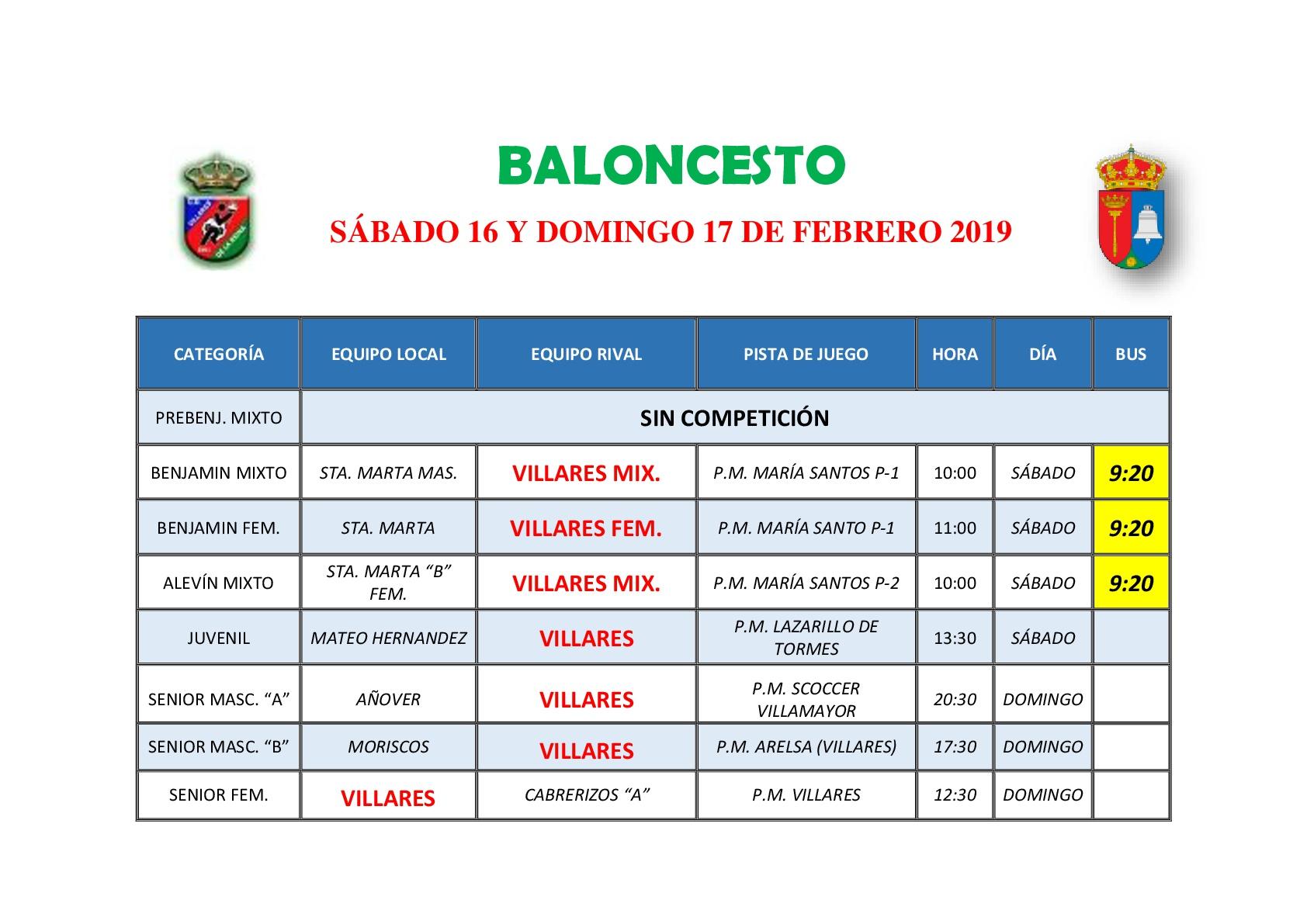 HORARIOS DE BALONCESTO S�BADO 16 Y DOMINGO 17 DE FEBRERO