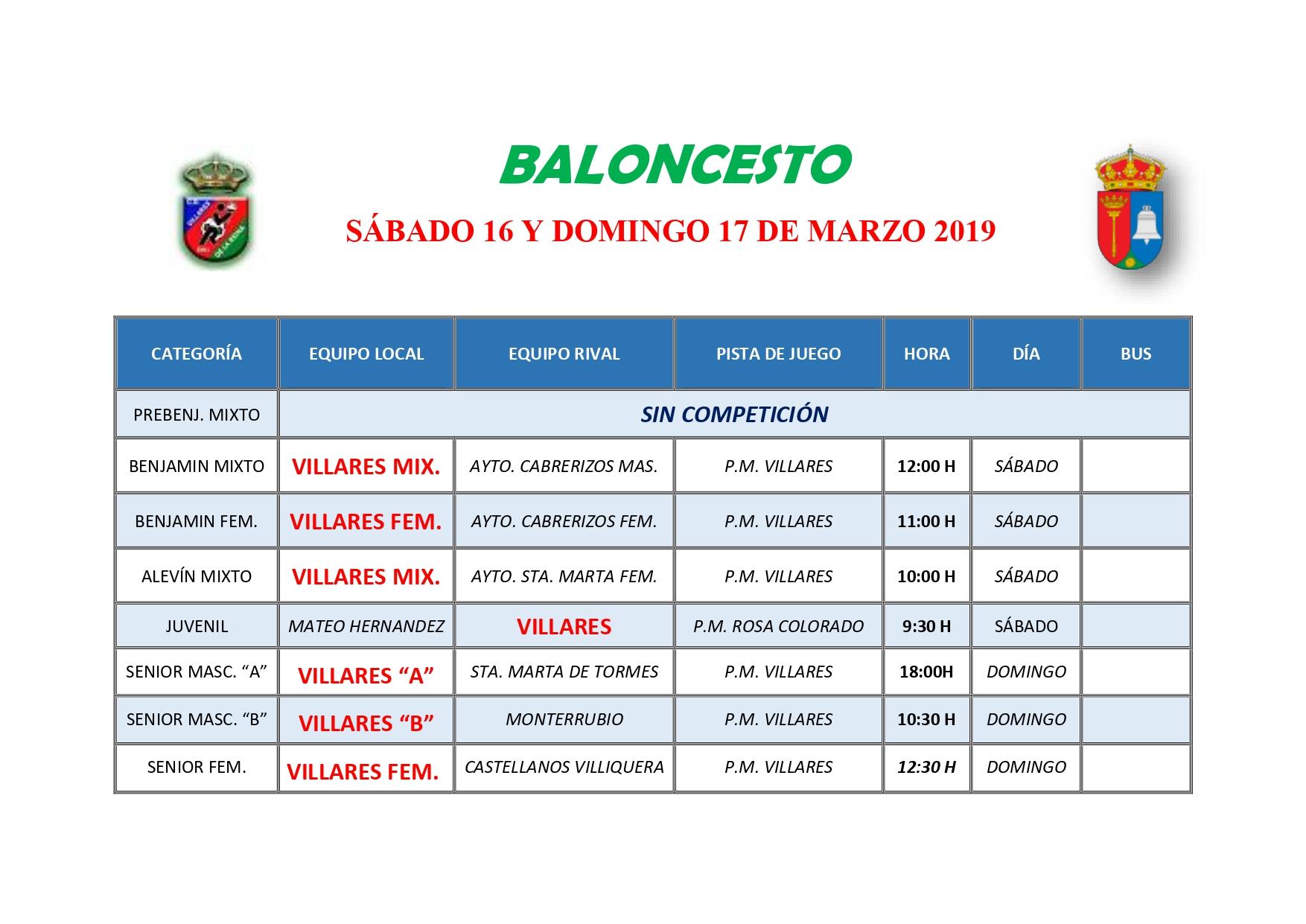 HORARIO DE BALONCESTO S�BADO 16 Y DOMINGO 17 DE MARZO