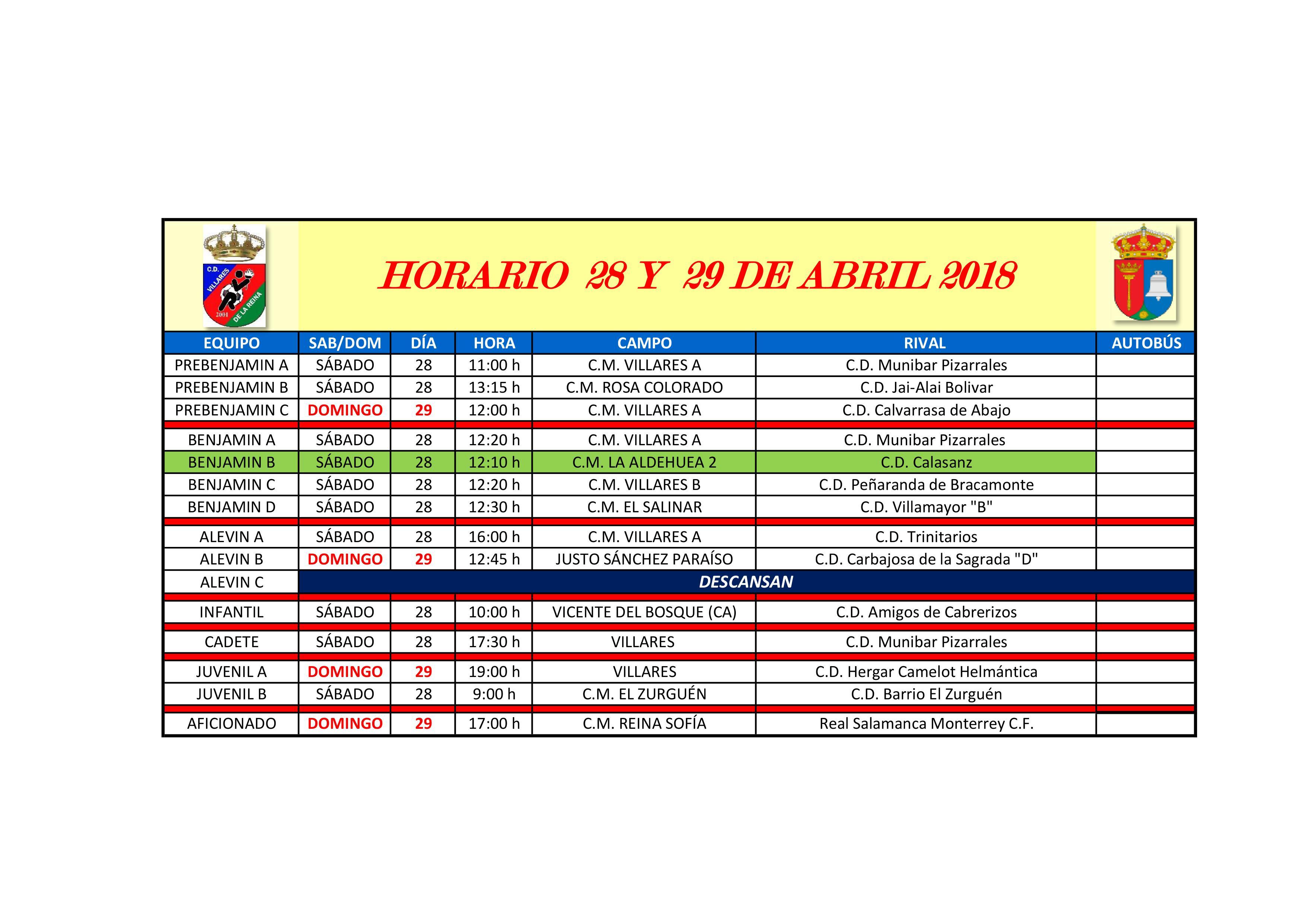 Horarios de futbol de 28-29 de Abril