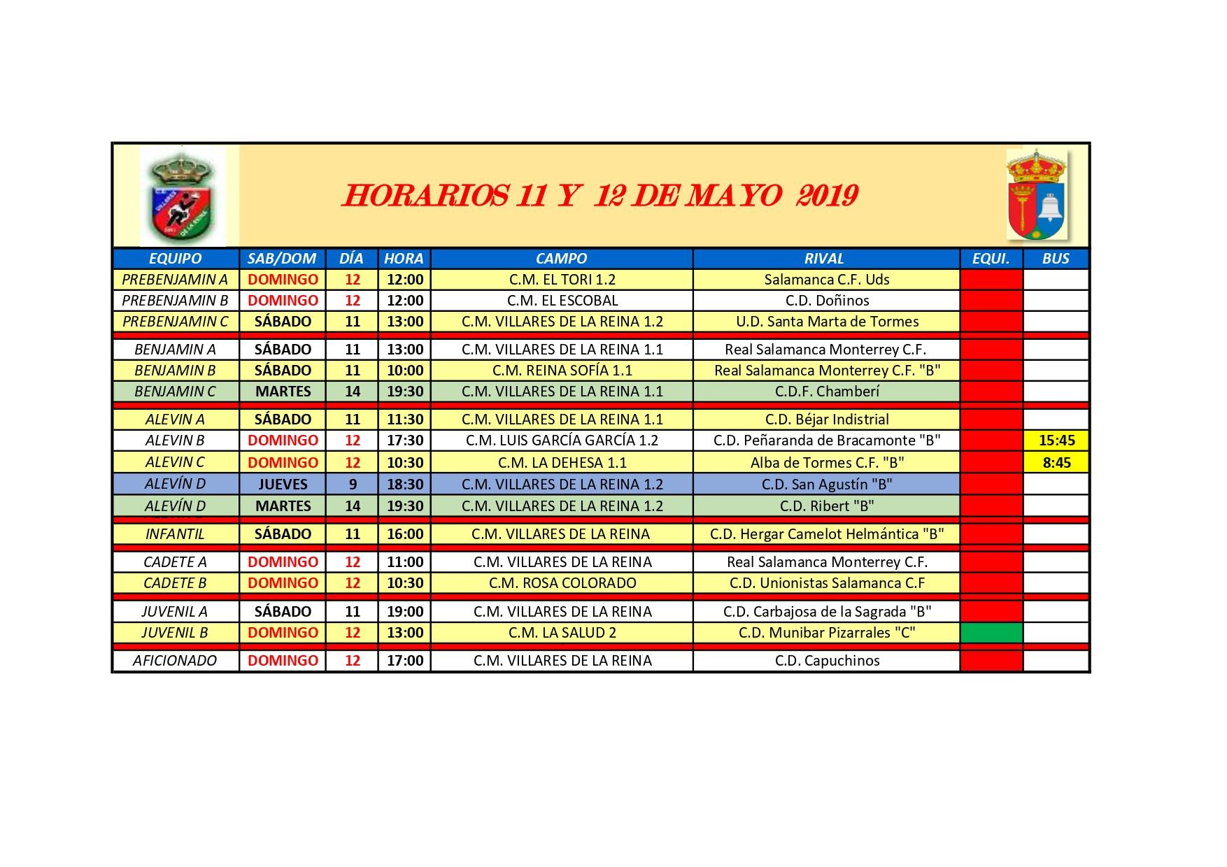 HORARIOS S�BADO 11 Y DOMINGO 12 DE MAYO