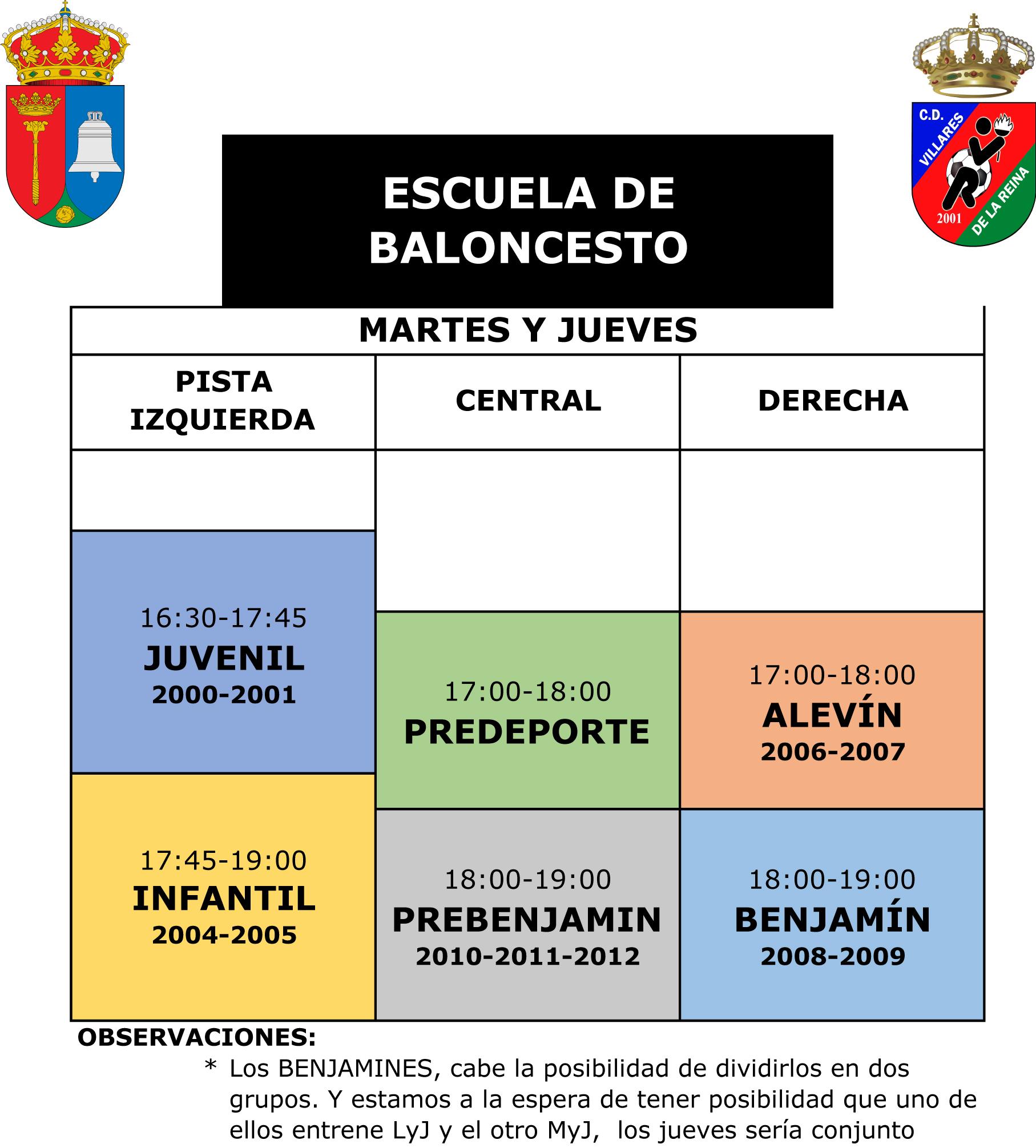Horario Escuela Baloncesto