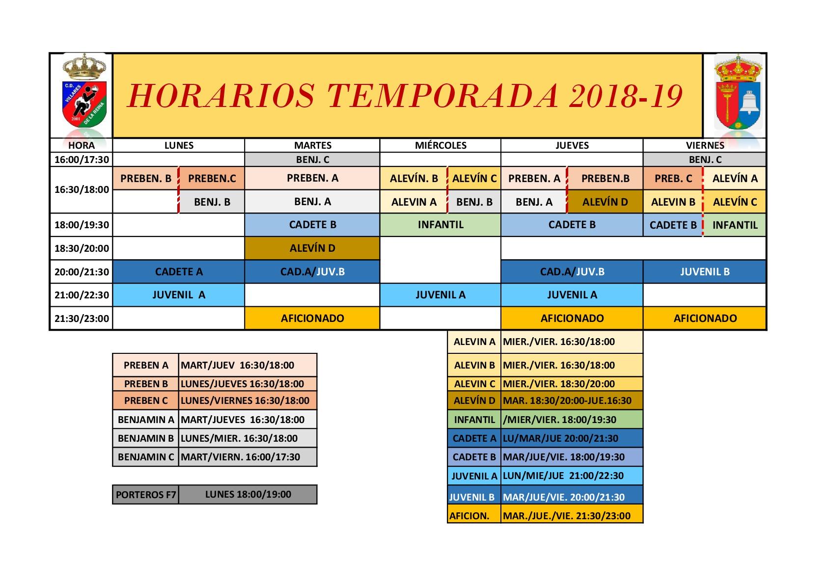 HORARIOS TEMPORADA 2018-19