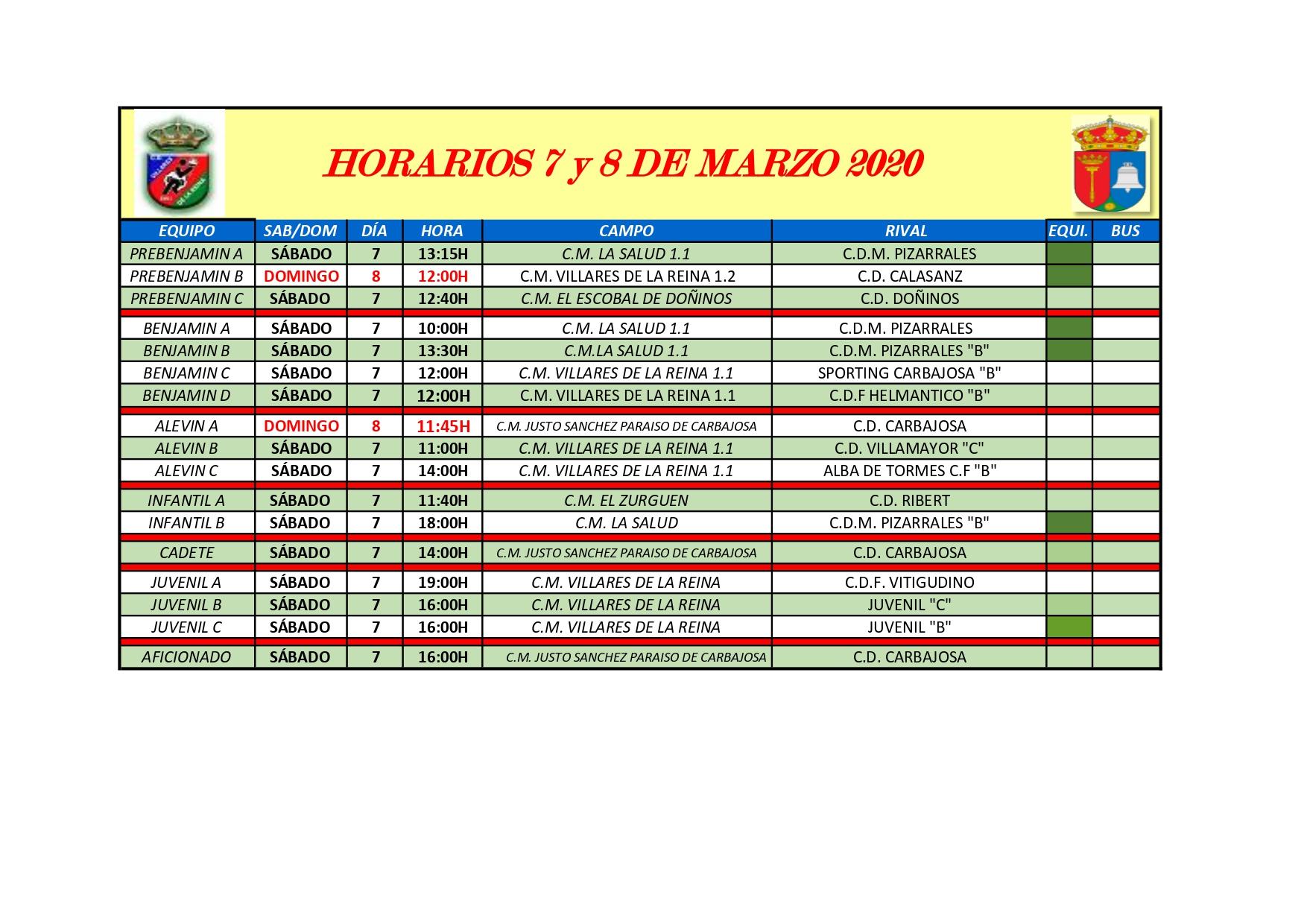 HORARIOS S�BADO 7 Y DOMINGO 8 DE MARZO DE 2020